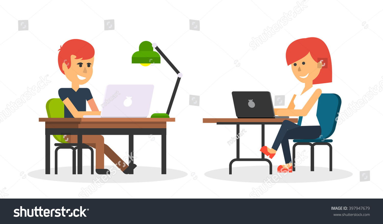 People Work Office Design Flat Business Stock Vector 397947679