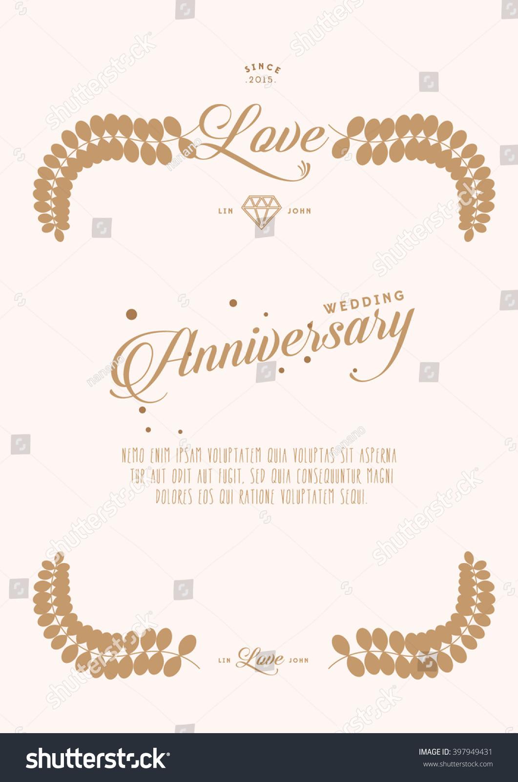 Happy Wedding Anniversary Card Invitation Card Vector De Stock