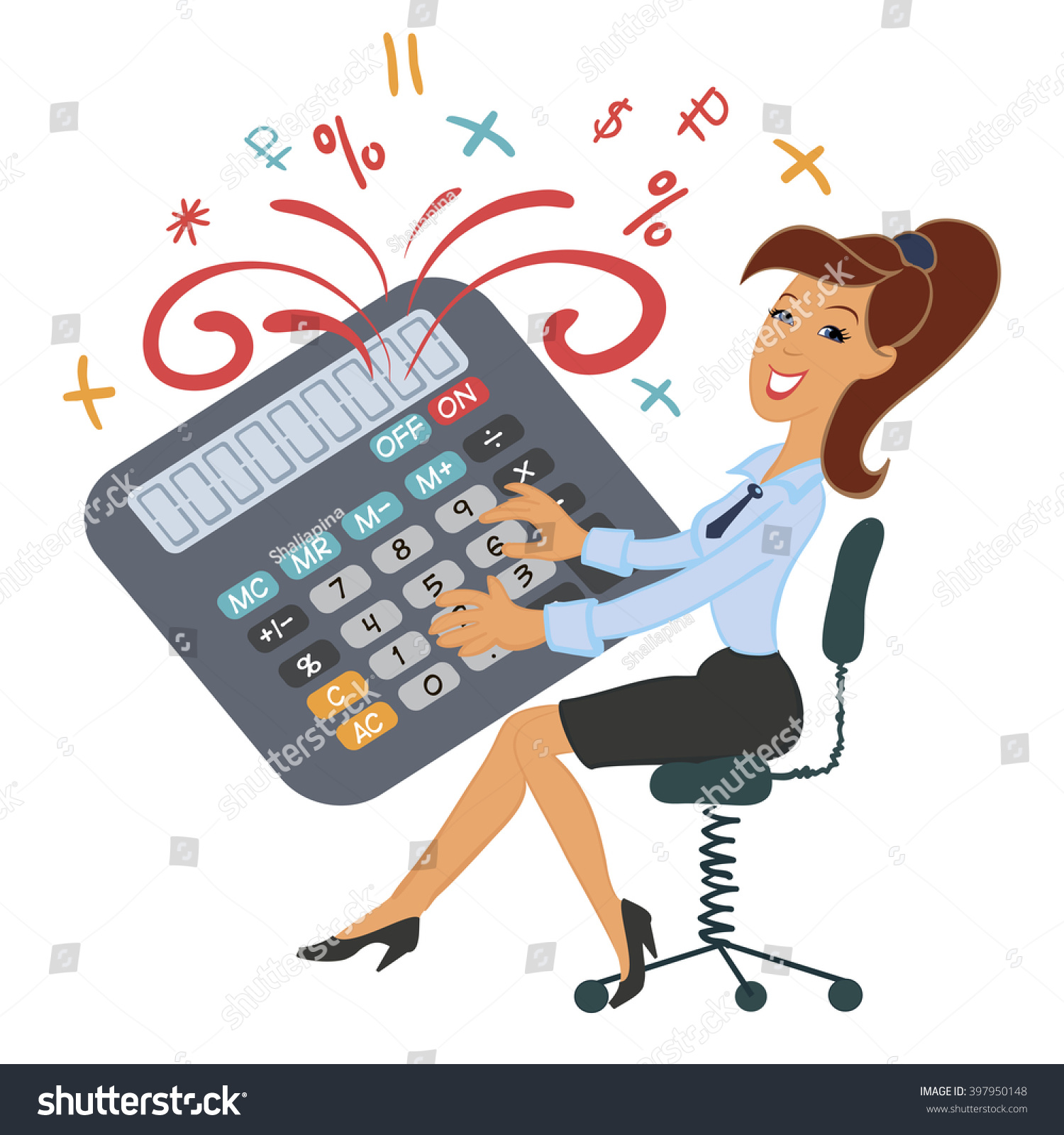 Funny Girl Playing Calculator Accountant Manager Stock