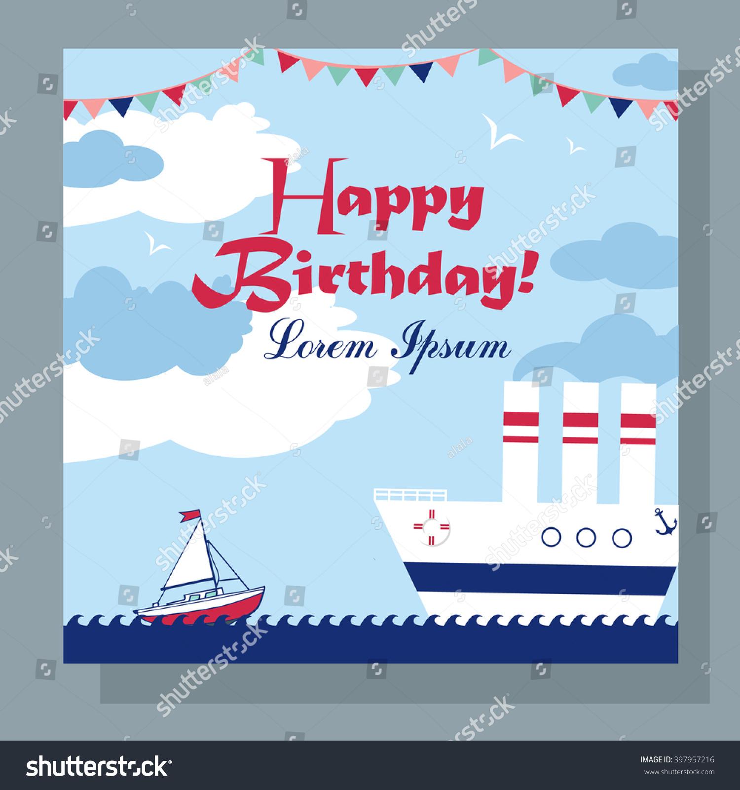 Happy Birthday Card Two Boats Sea Stock Vector (Royalty Free