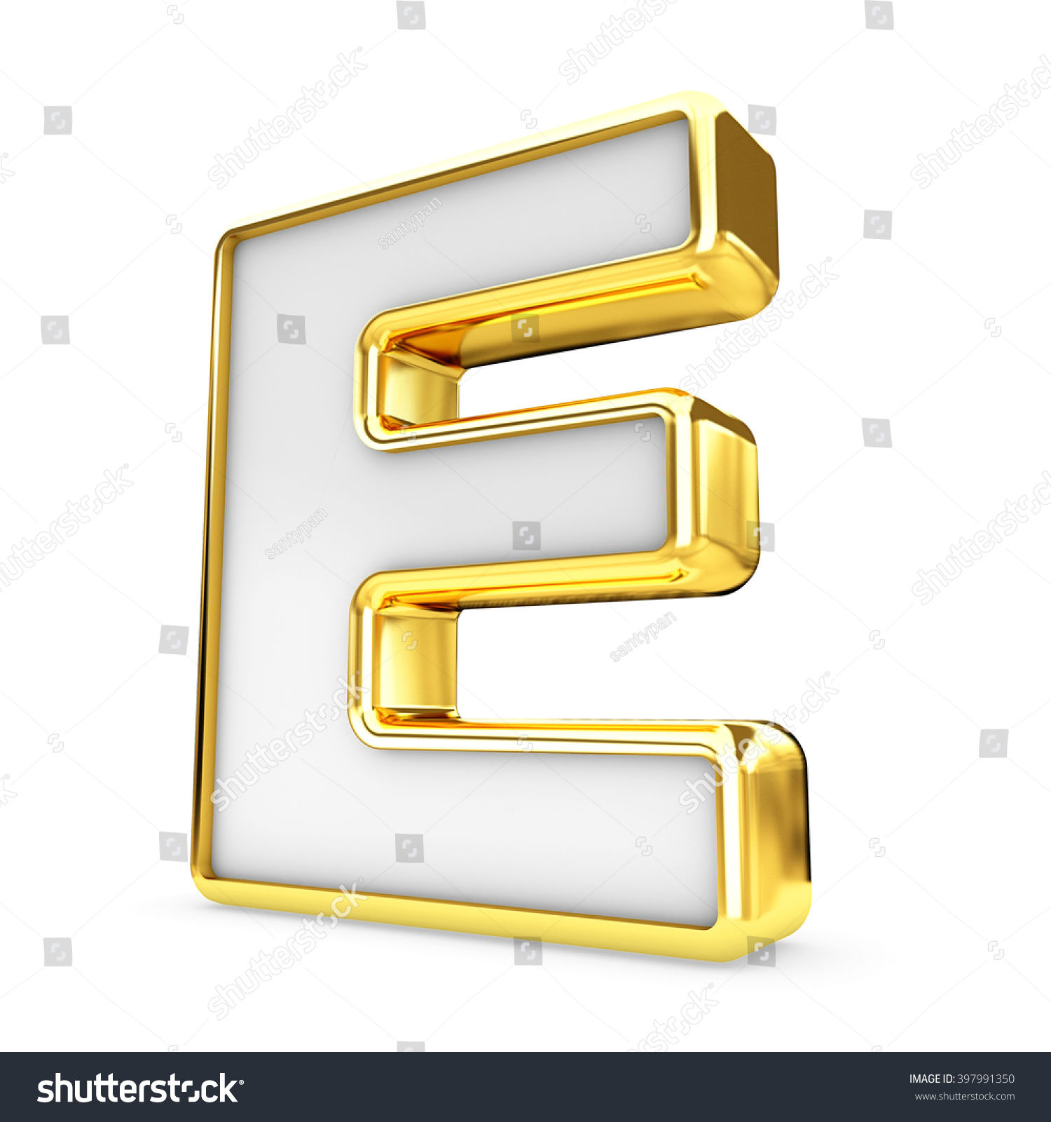 3d Gold White Letter E Isolated Stock Illustration ...