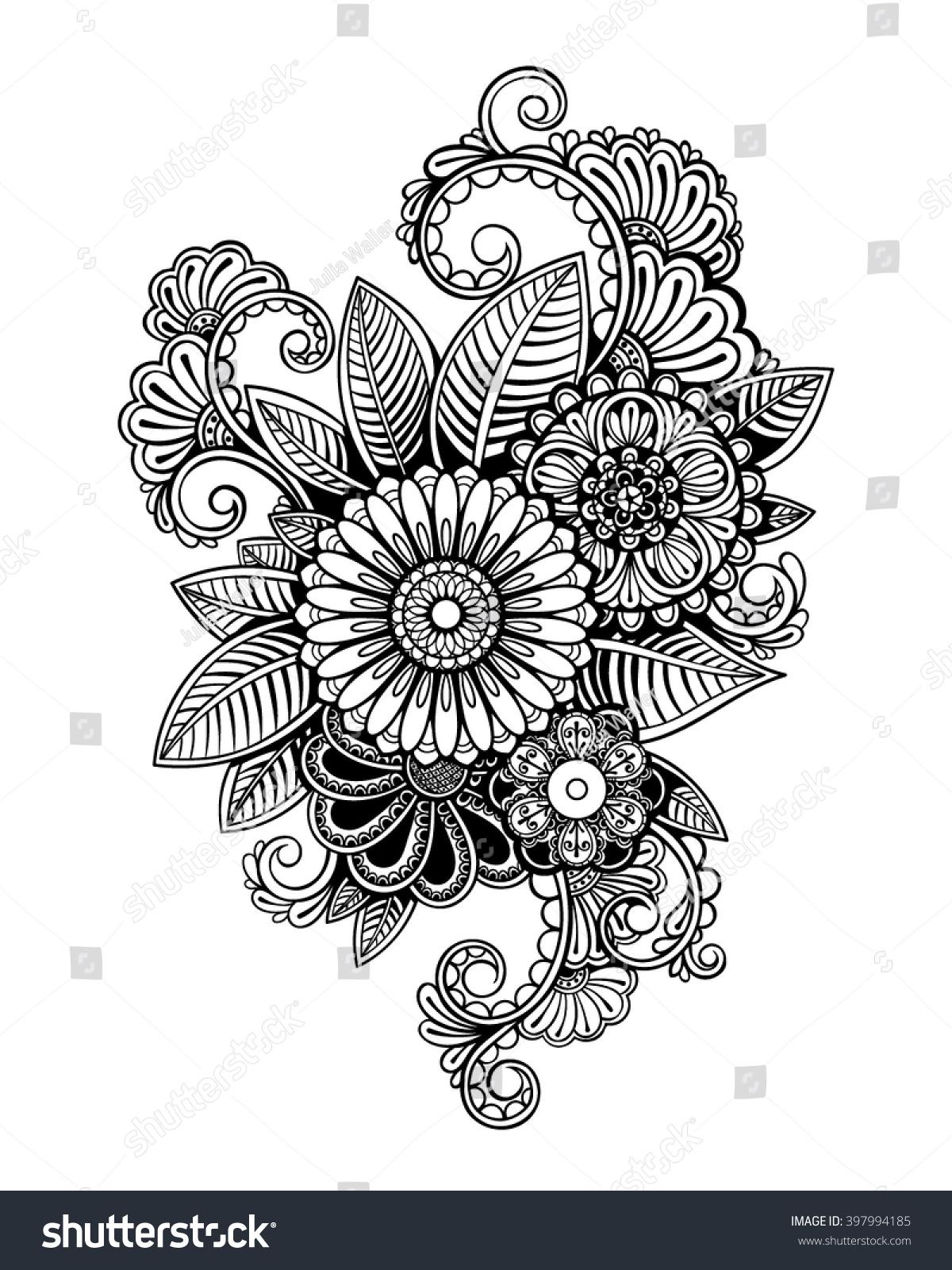 Vector Black White Tattoo Flowers Illustration Stock Vector Royalty
