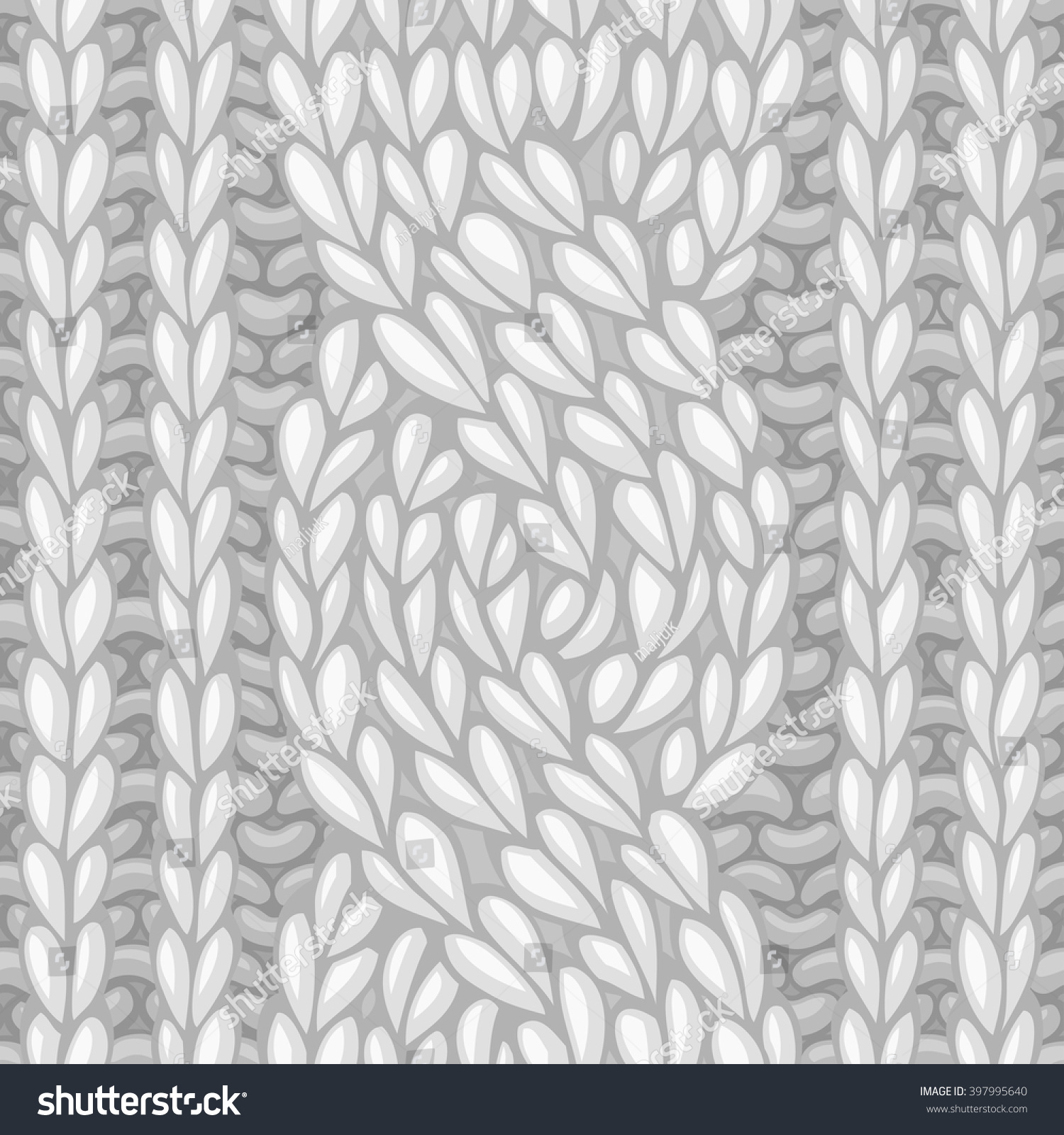 Knitting Stitches Vector : Seamless Six-Stitch Cable Stitch. Vector Left-Twisting Rope Cable (C6f) Knitt...
