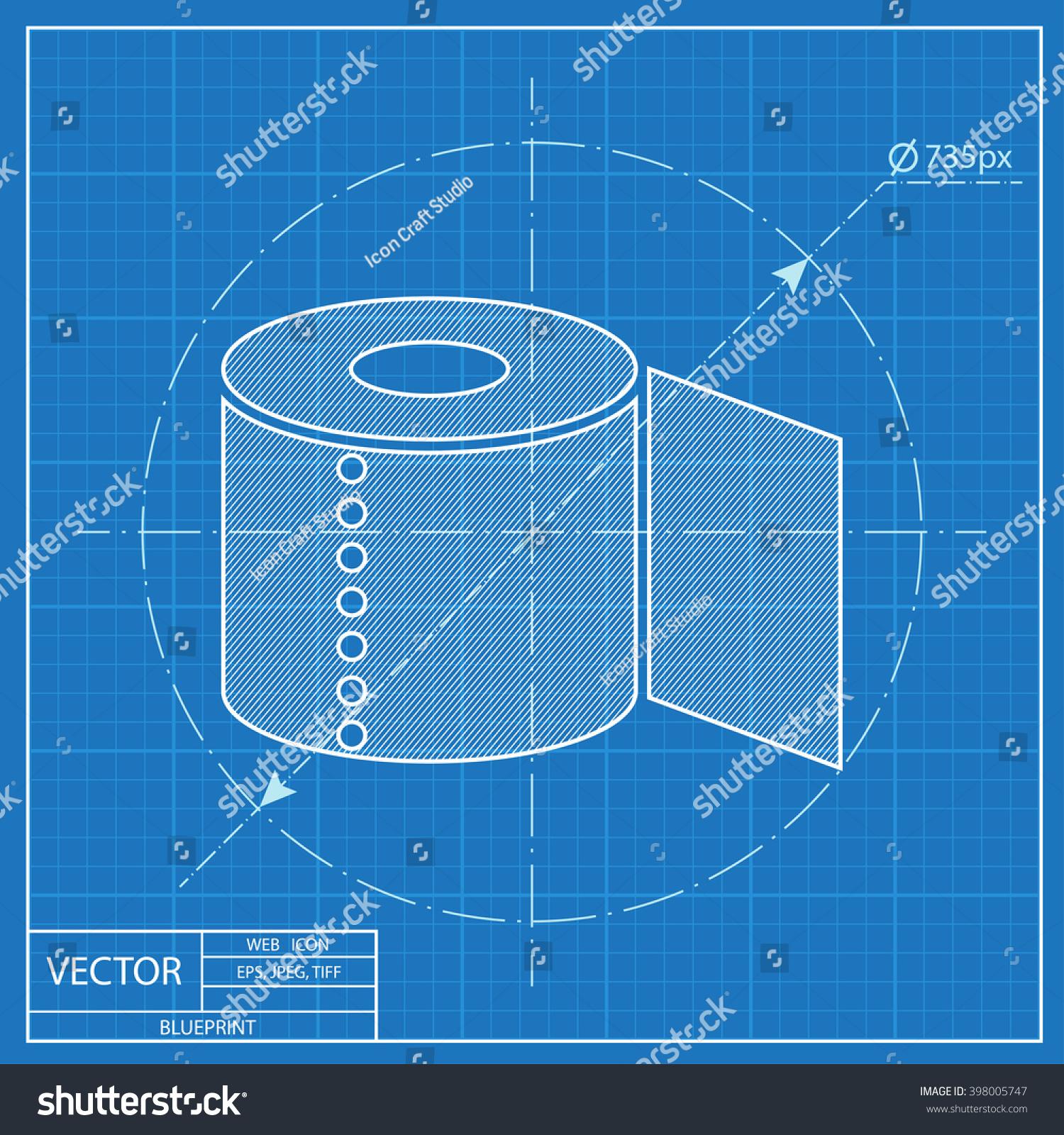 Toilet paper blueprint icon vectores en stock 398005747 shutterstock toilet paper blueprint icon malvernweather Image collections