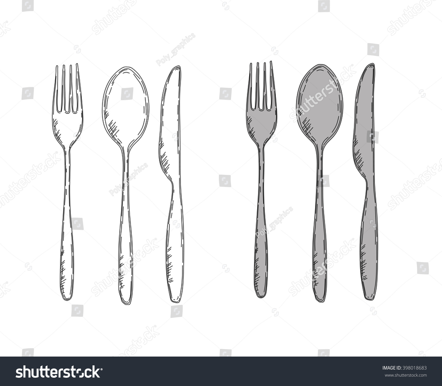 Vector Illustration Of Spoon Fork And Knife Easy To Change Colors