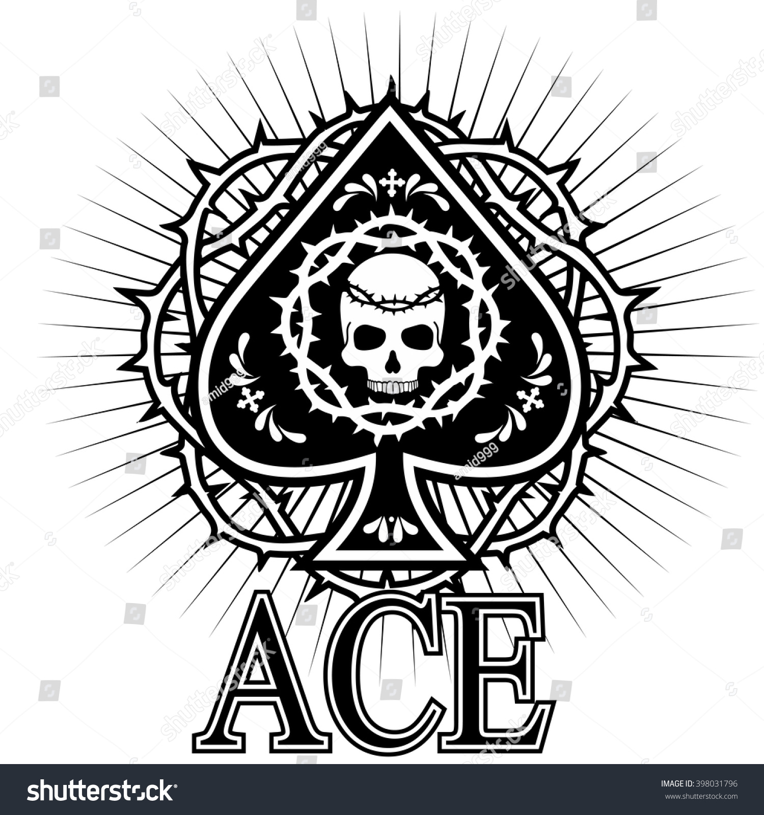 Ace spades skull stock vector 398031796 shutterstock ace of spades with skull biocorpaavc Choice Image