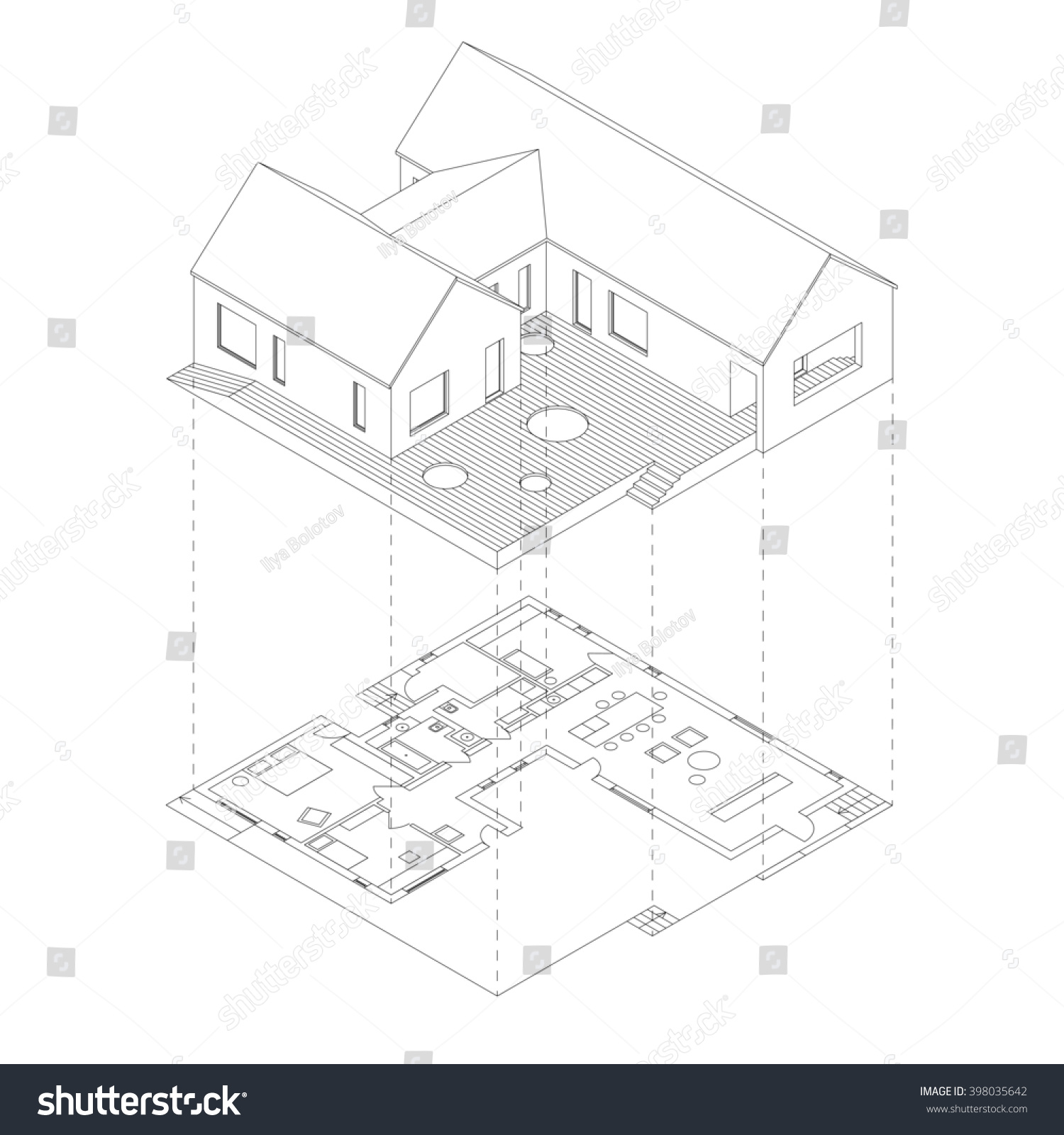 House Plan Projection On White Background Stock Illustration 398035642