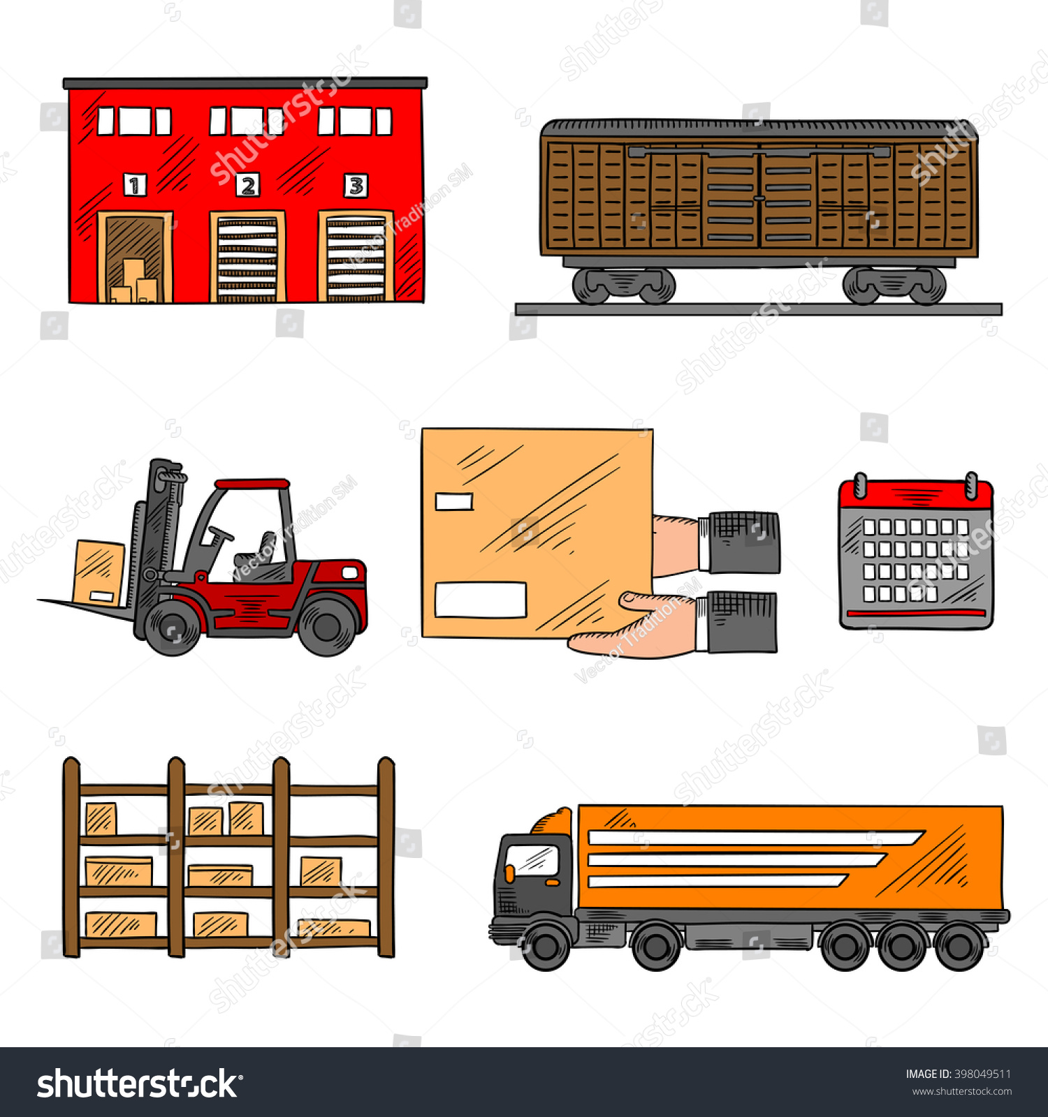 Storage And Delivery Service Elements With Freight Wagon And Delivery  Truck, Warehouse Building, Forklift