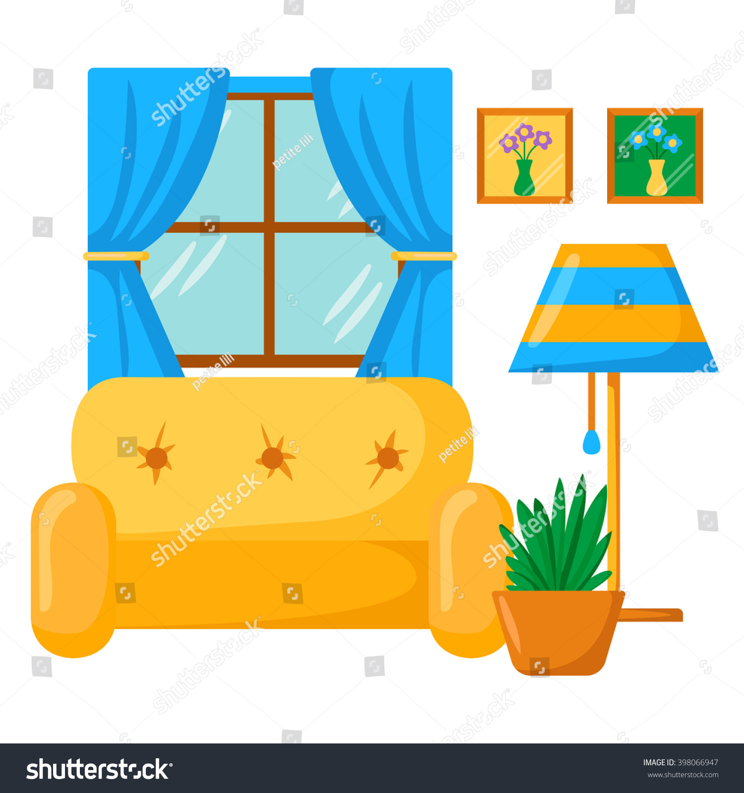 Vector Sofa Interior Cartoon Living Room Stock