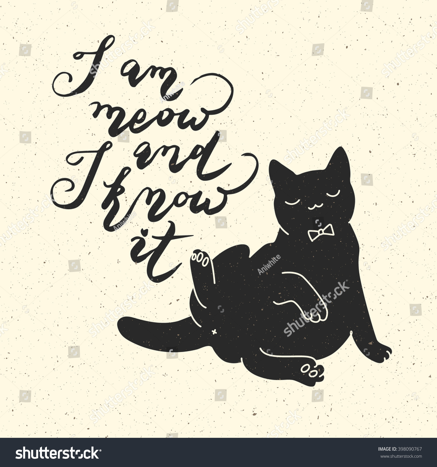 Cat Stock Quote Meow Know It Cat Quote Trendy Stock Vector 398090767  Shutterstock