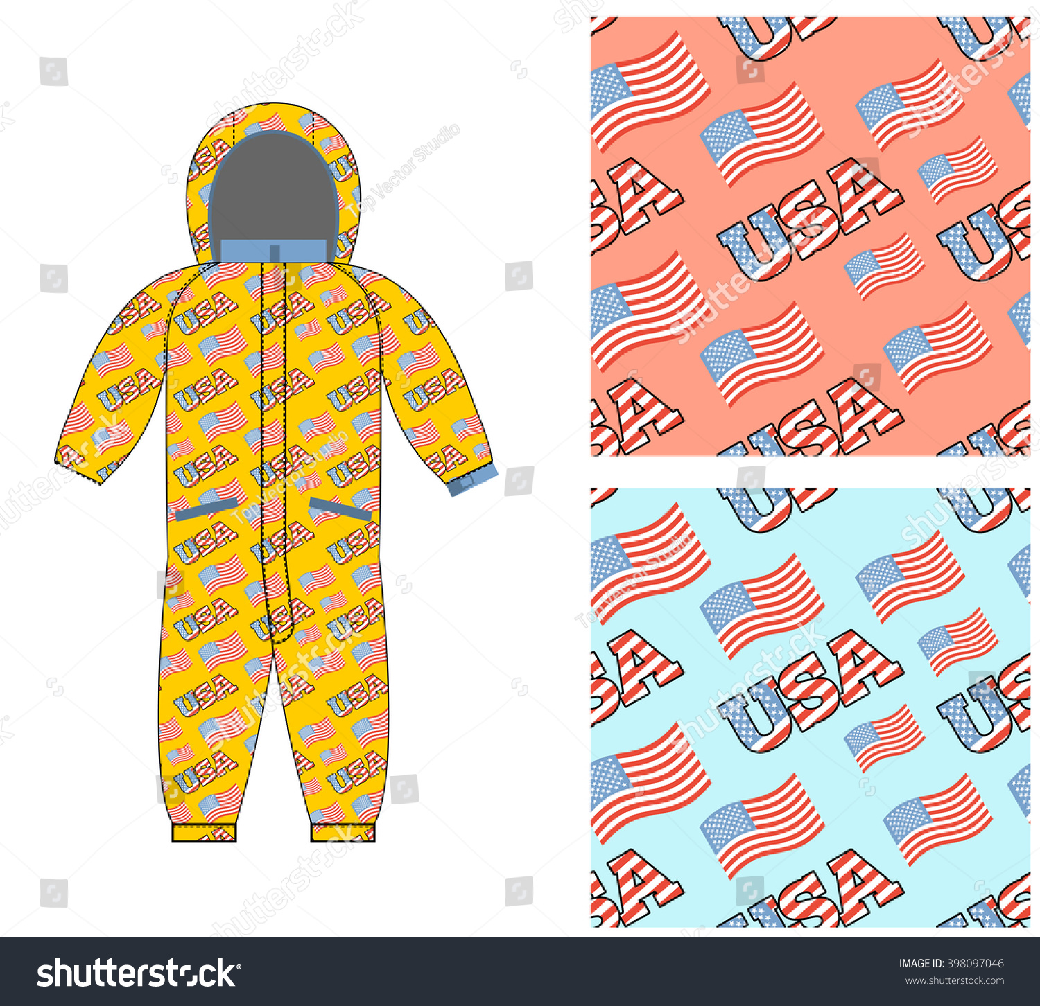 Patriotic Childrens Clothing Baby Dress Template Stock Vector