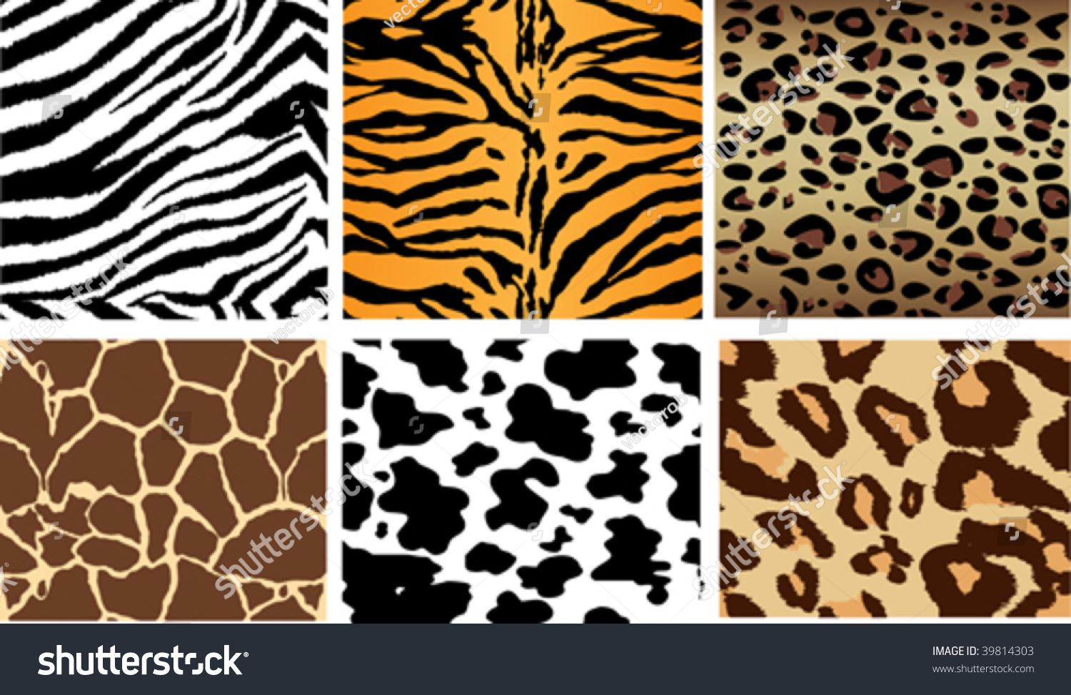Animal Print Tileable Backgrounds Sides Match Stock Vector