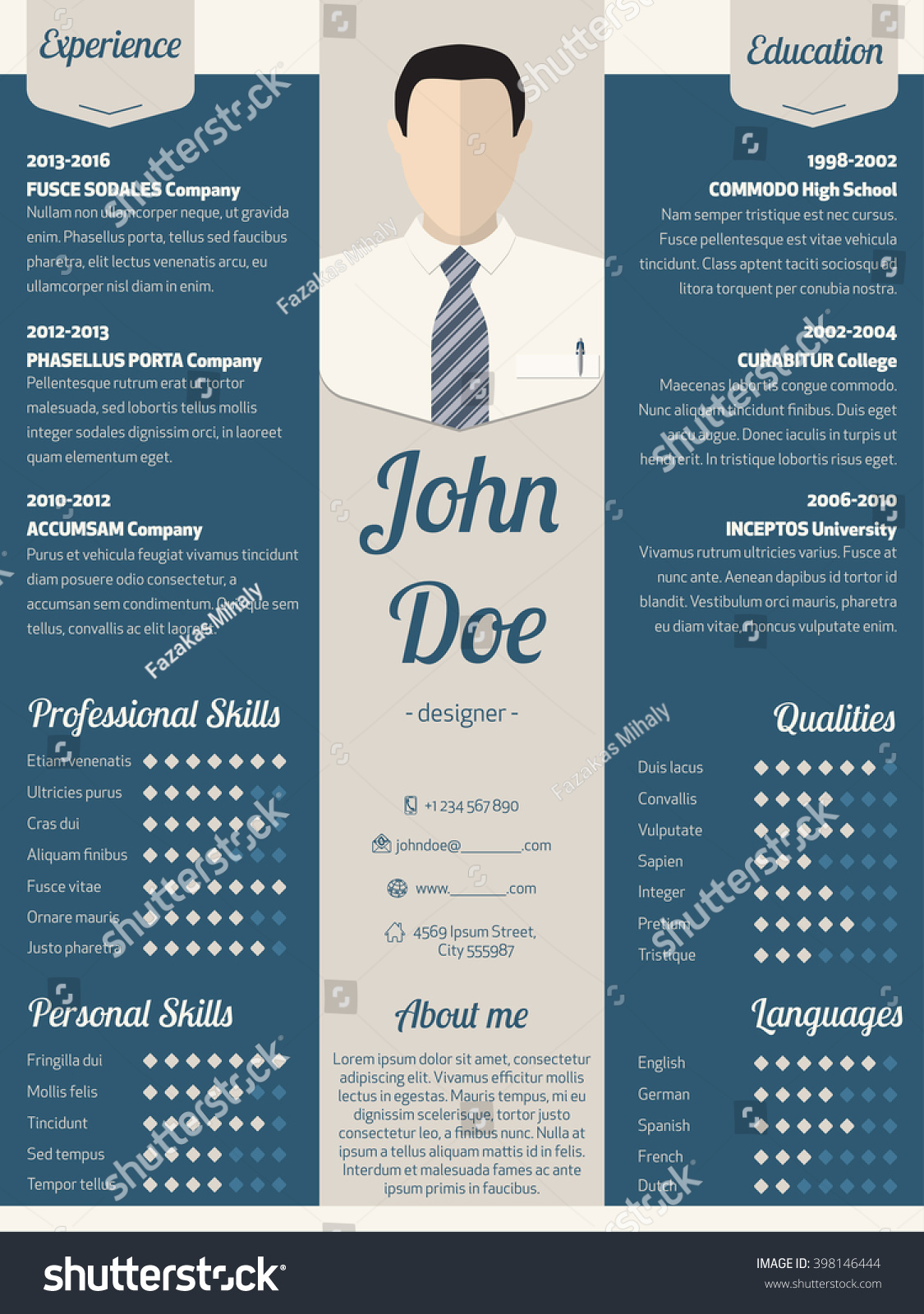 new modern resume cv curriculum vitae stock vector 398146444