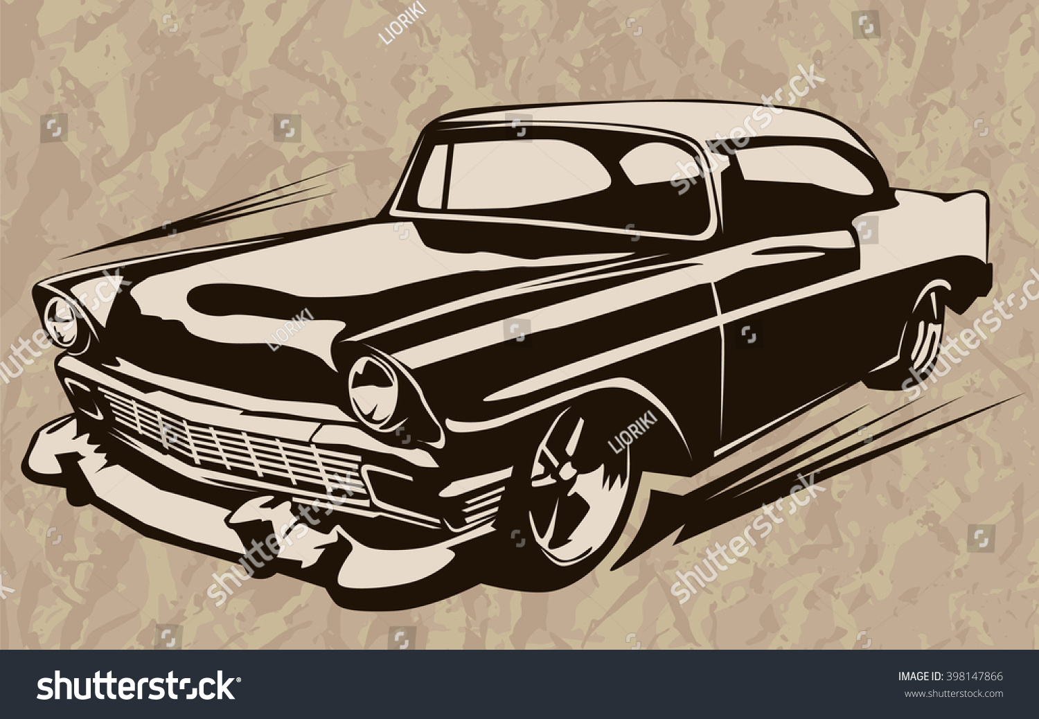 Vintage Muscle Cars Inspired Cartoon Sketch Stock Vector 398147866 ...