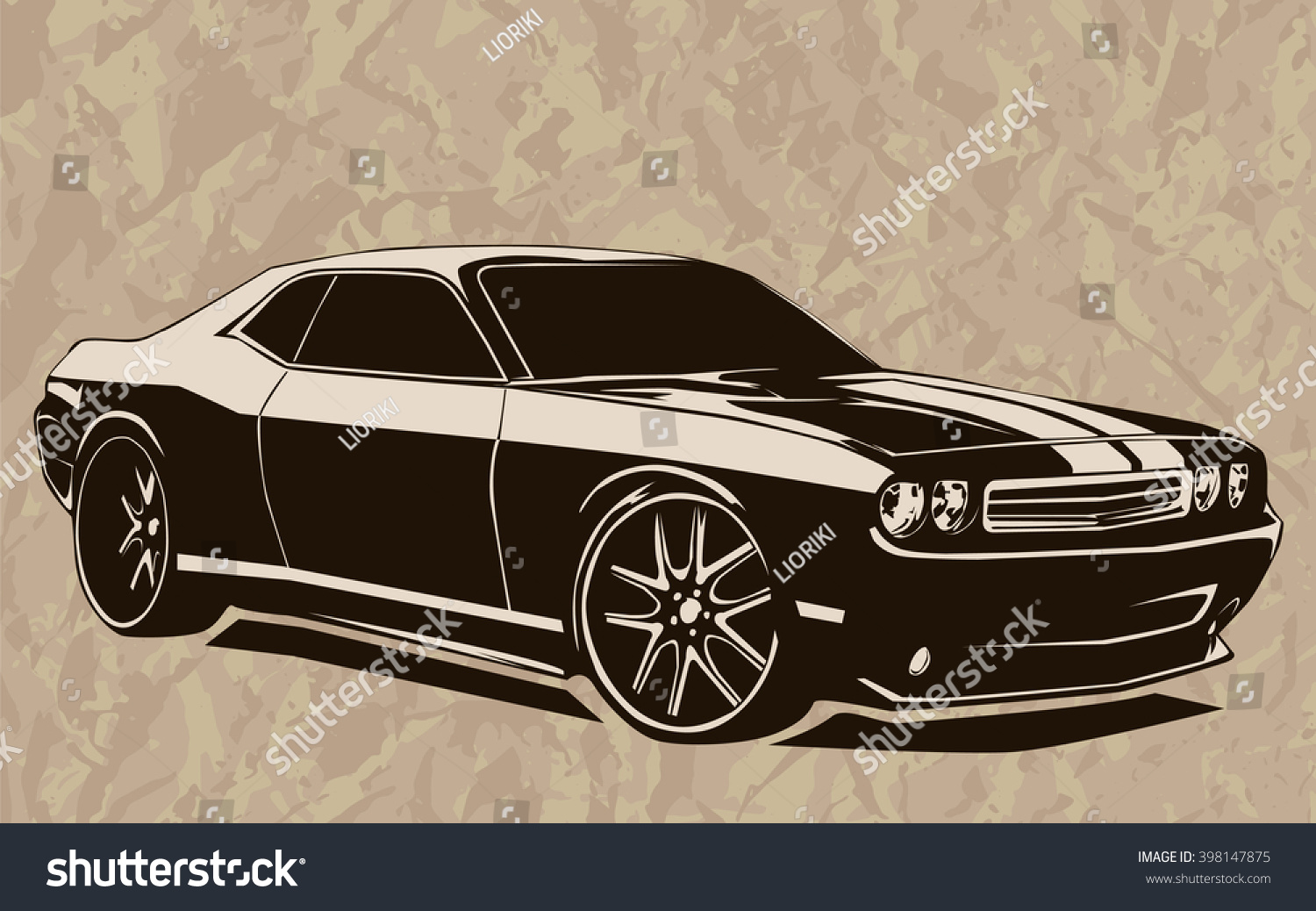 Old School Muscle Cars Inspired Cartoon Stock Photo (Photo, Vector ...