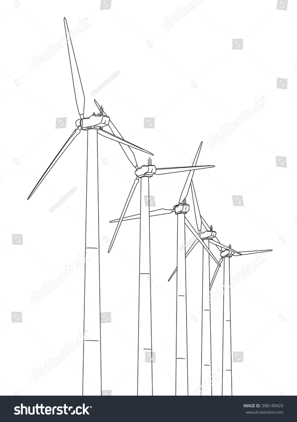 Line Drawing Windmill : Wind power plant line drawing illustration stock vector