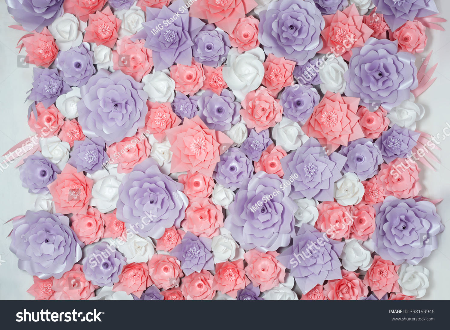 Royalty Free Colorful Paper Flowers Background 398199946 Stock