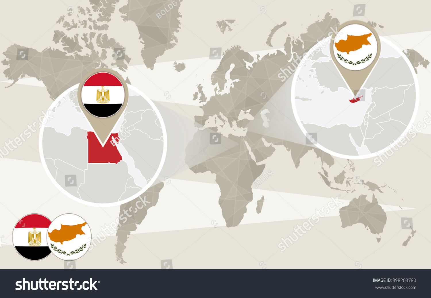 World map zoom on Egypt Cyprus Hijack