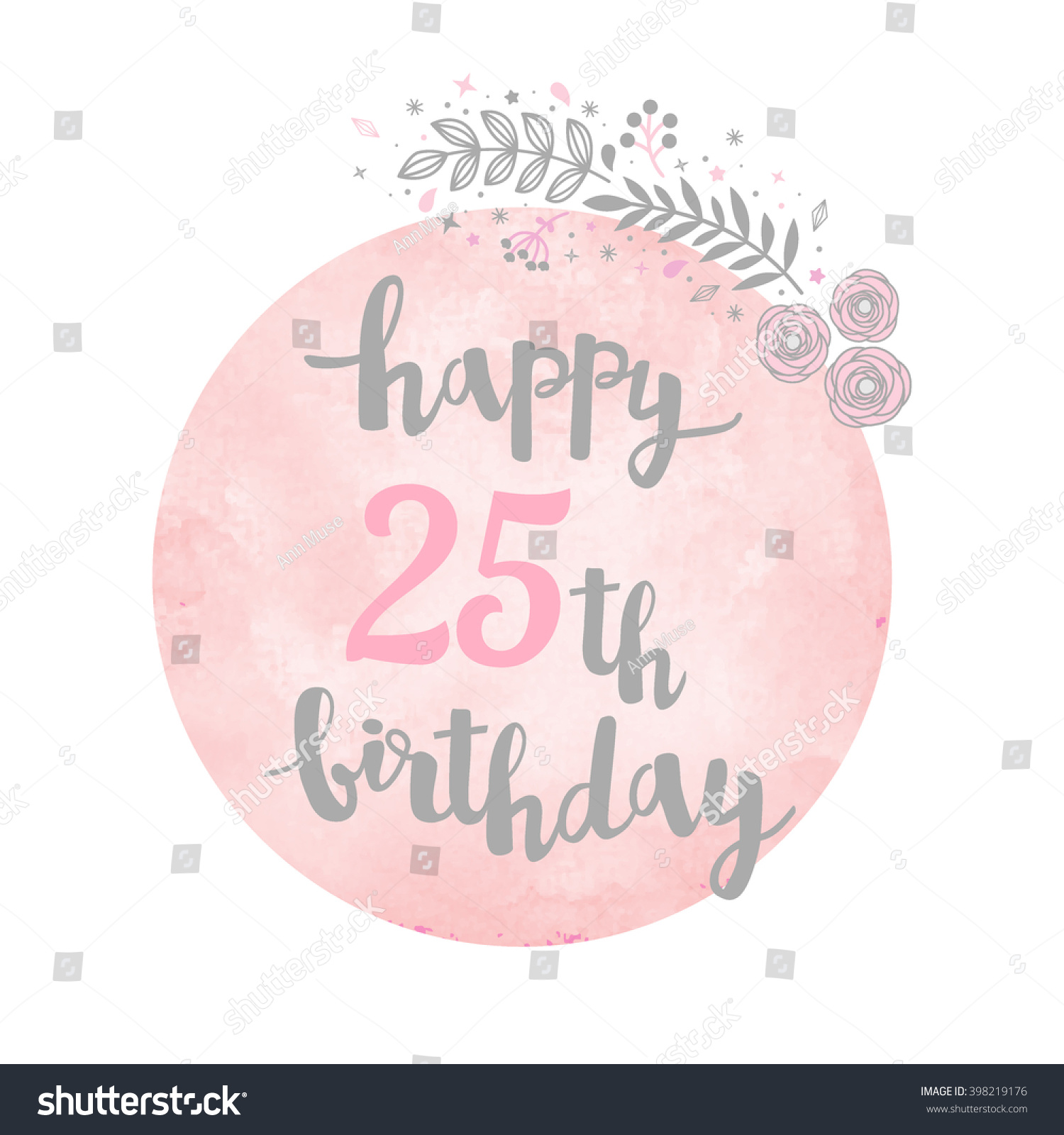 Happy 25th Birthday Greeting Card Floral Stock Vector Royalty Free