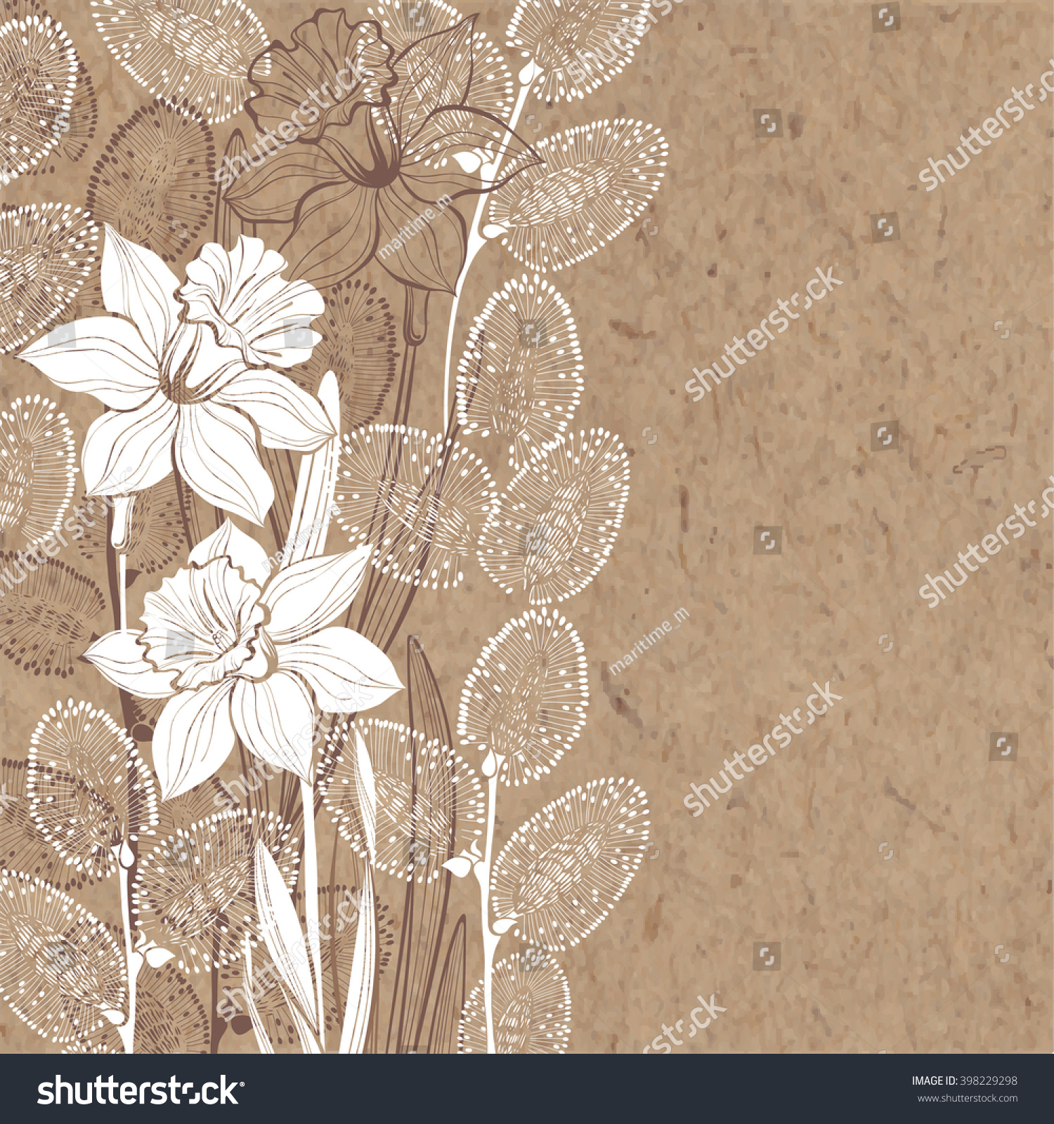 Handdrawn Vector Background Spring Flowers Daffodils Stock Vector