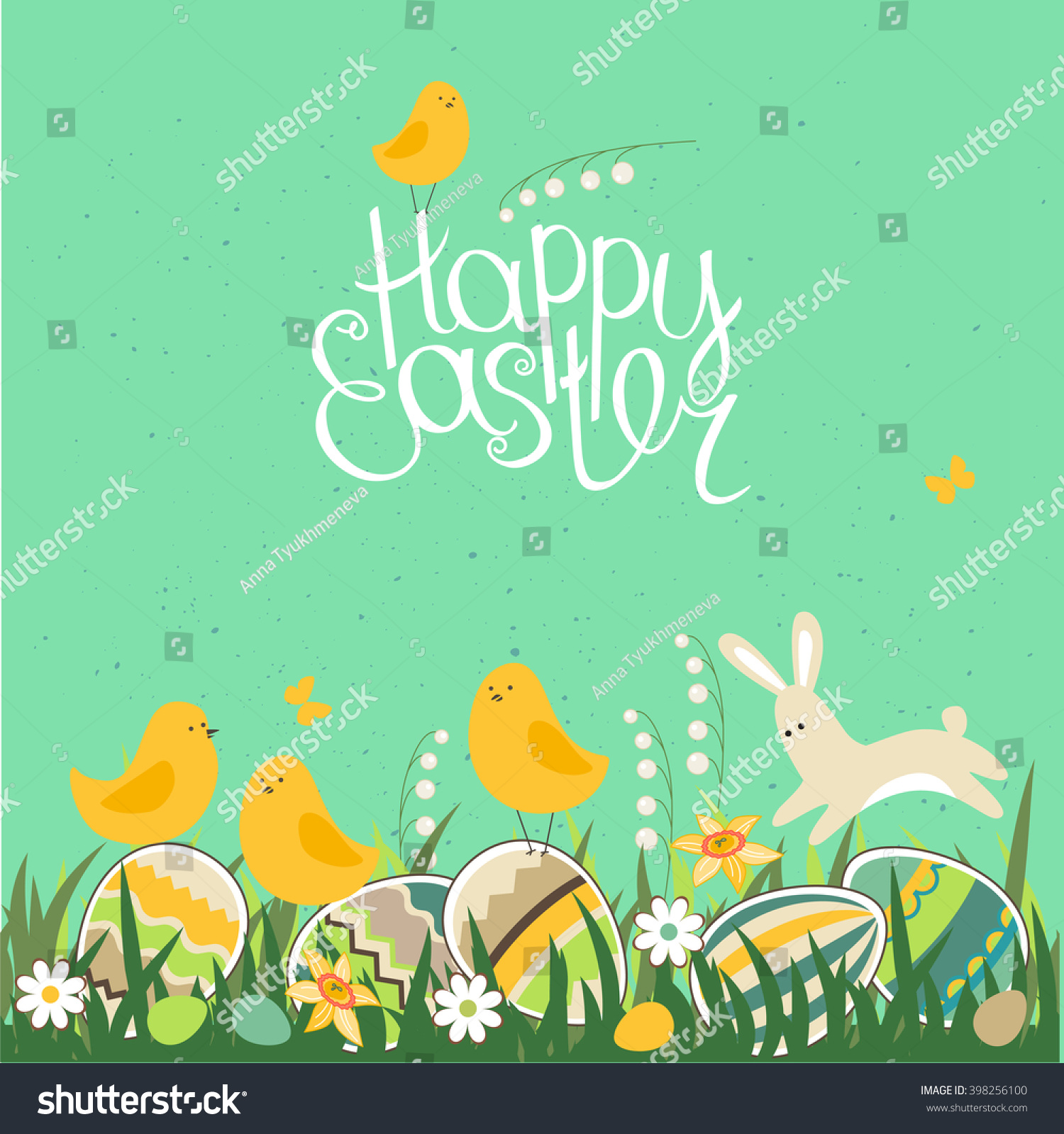 Royalty Free Spring Greeting Card Phrase Happy 398256100 Stock