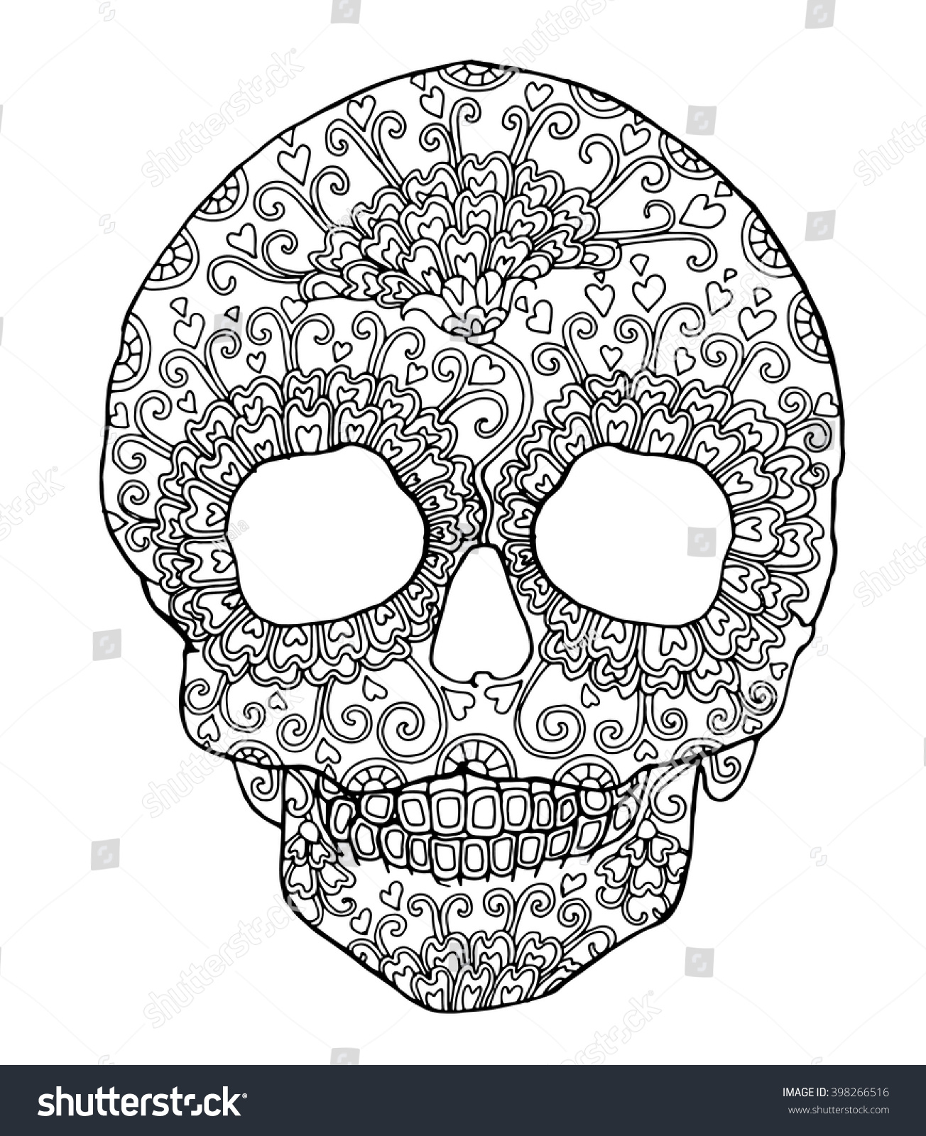 Decorated Skull For Day Of The Dead Marigold Flowers Design Zentangle Page Adult