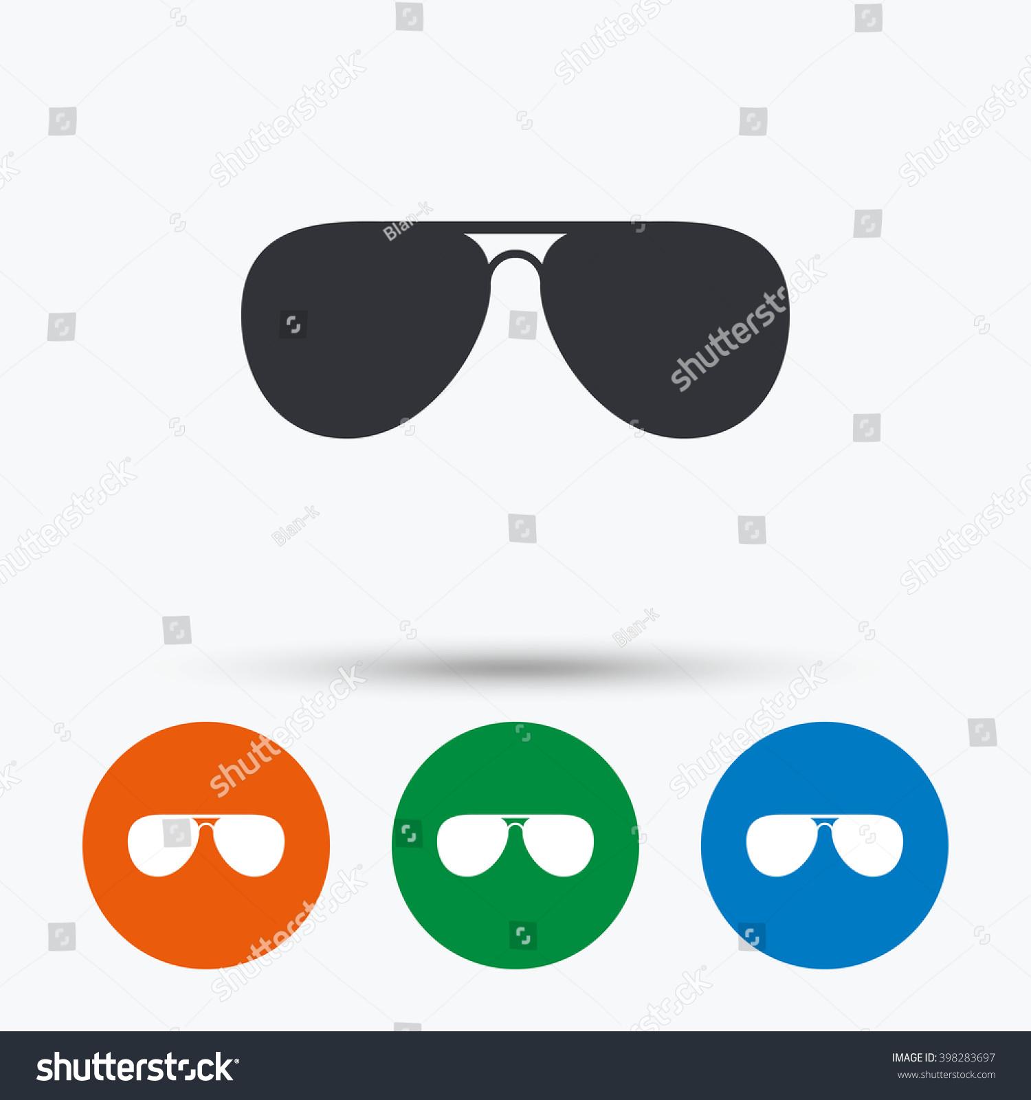 Aviator Sunglasses Icon Pilot Glasses Symbols Stock Vector Royalty