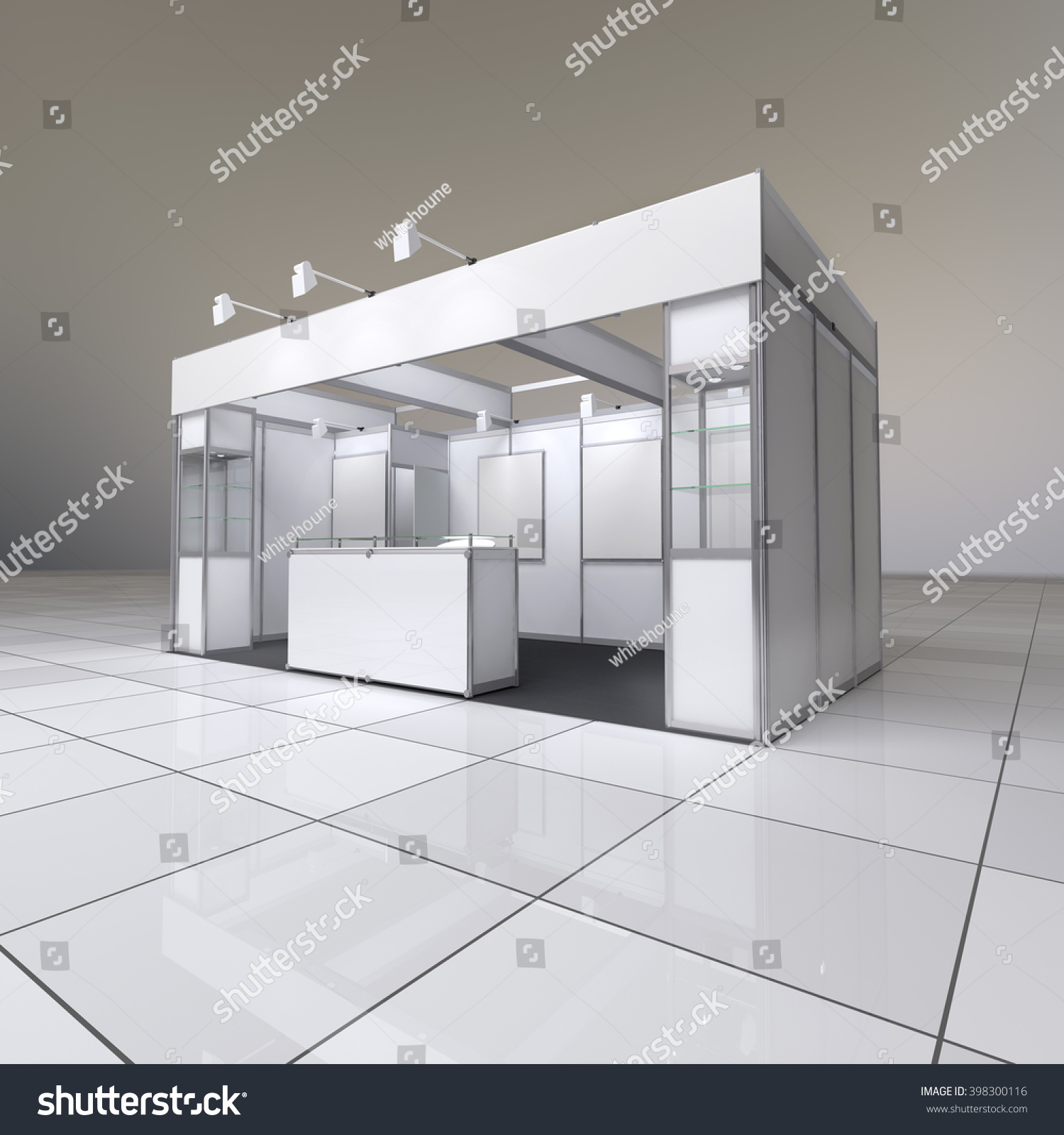 Modern Exhibition Stand : Modern design white exhibition stand blank stock