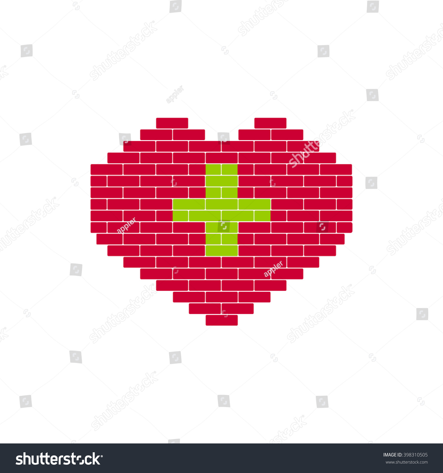 Heart Shape Created From Building Bricks Red With Green Cross Sign For Medicine