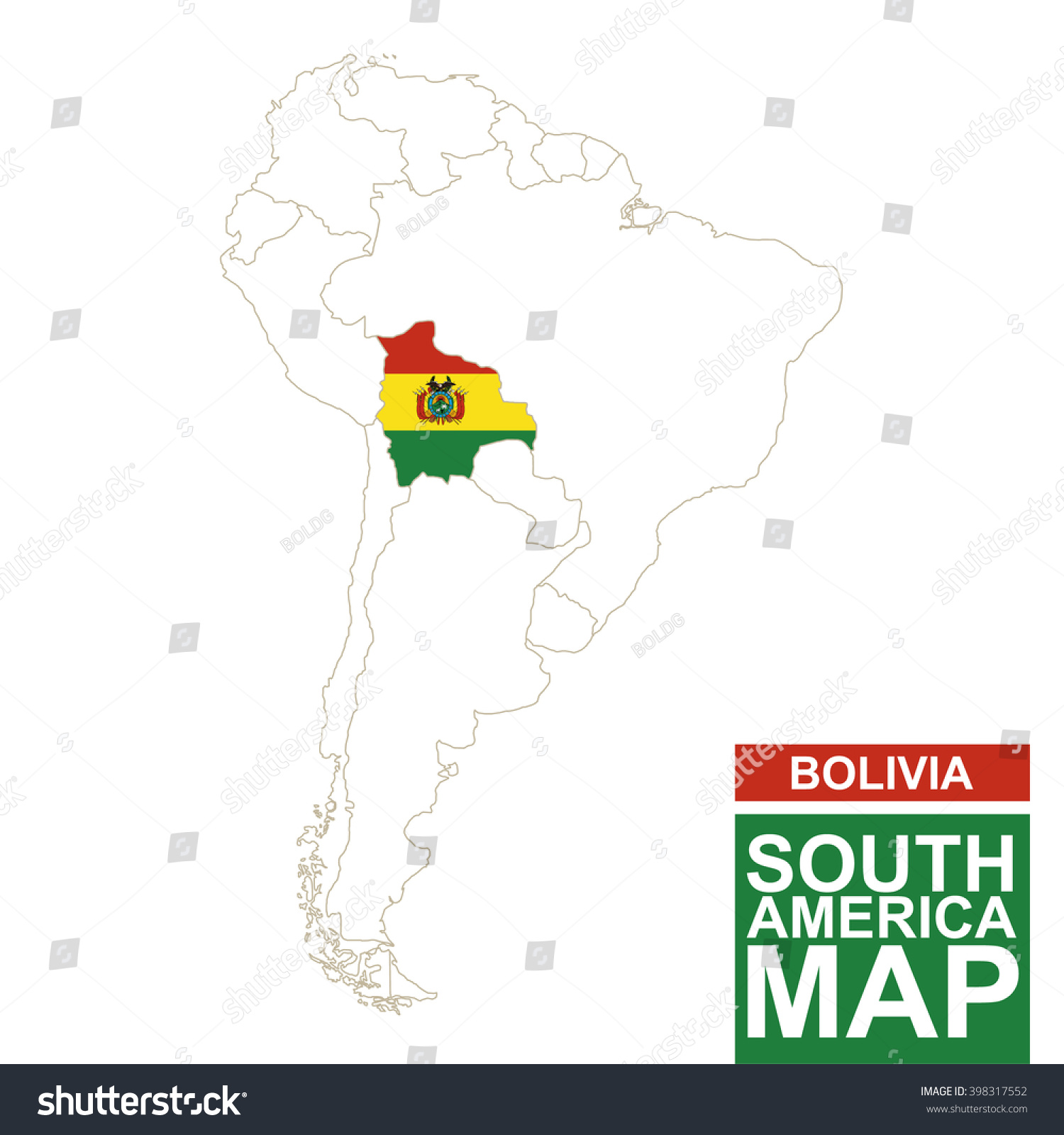 South America Contoured Map Highlighted Bolivia Stock Vector - South america map and flags