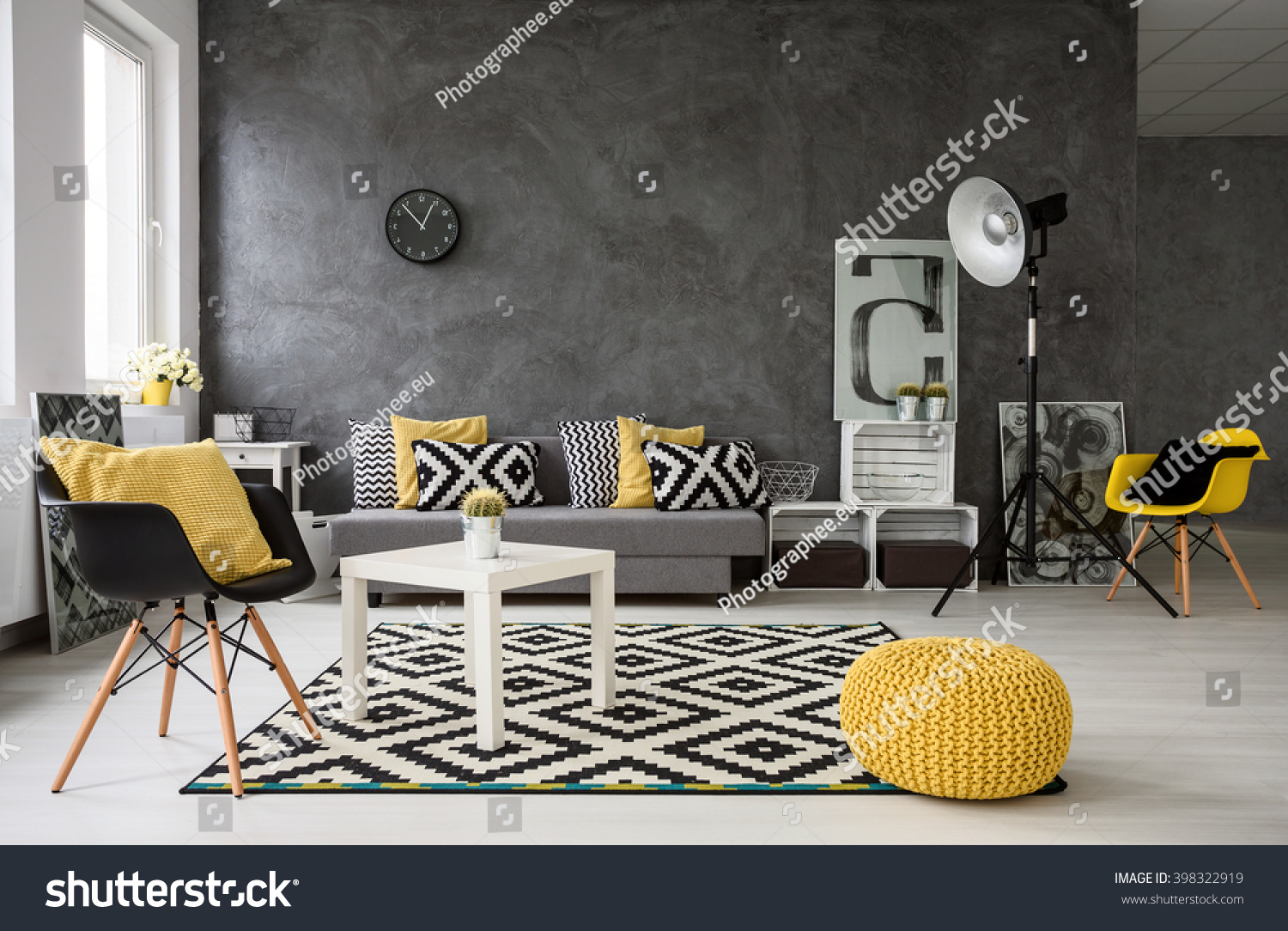 Spacious Grey Living Room With Sofa Chairs Standing Lamp Small Coffee