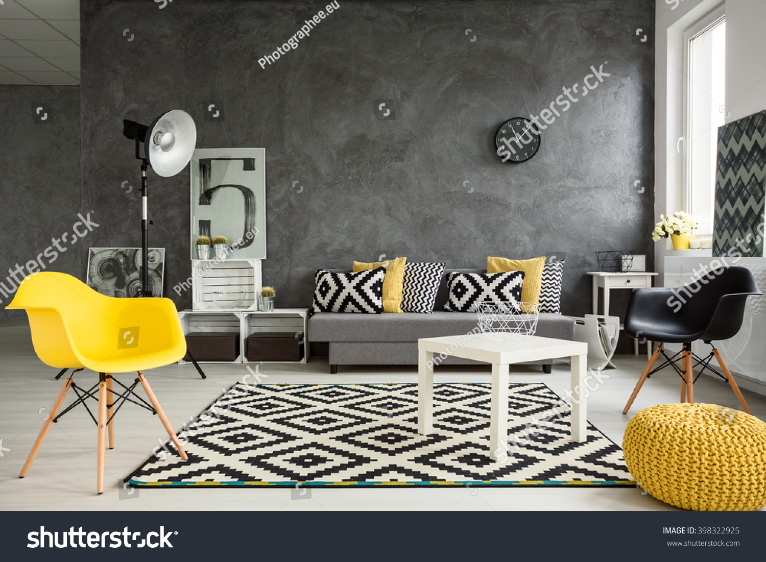 Grey Living Room With Sofa, Chairs, Standing Lamp, Small Table, Yellow  Details