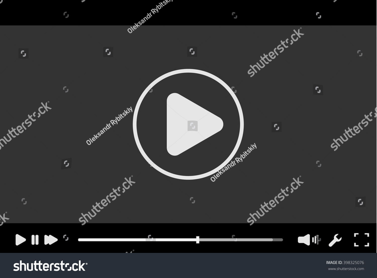 Video player interface template vector. Trendy minimal flash stock.