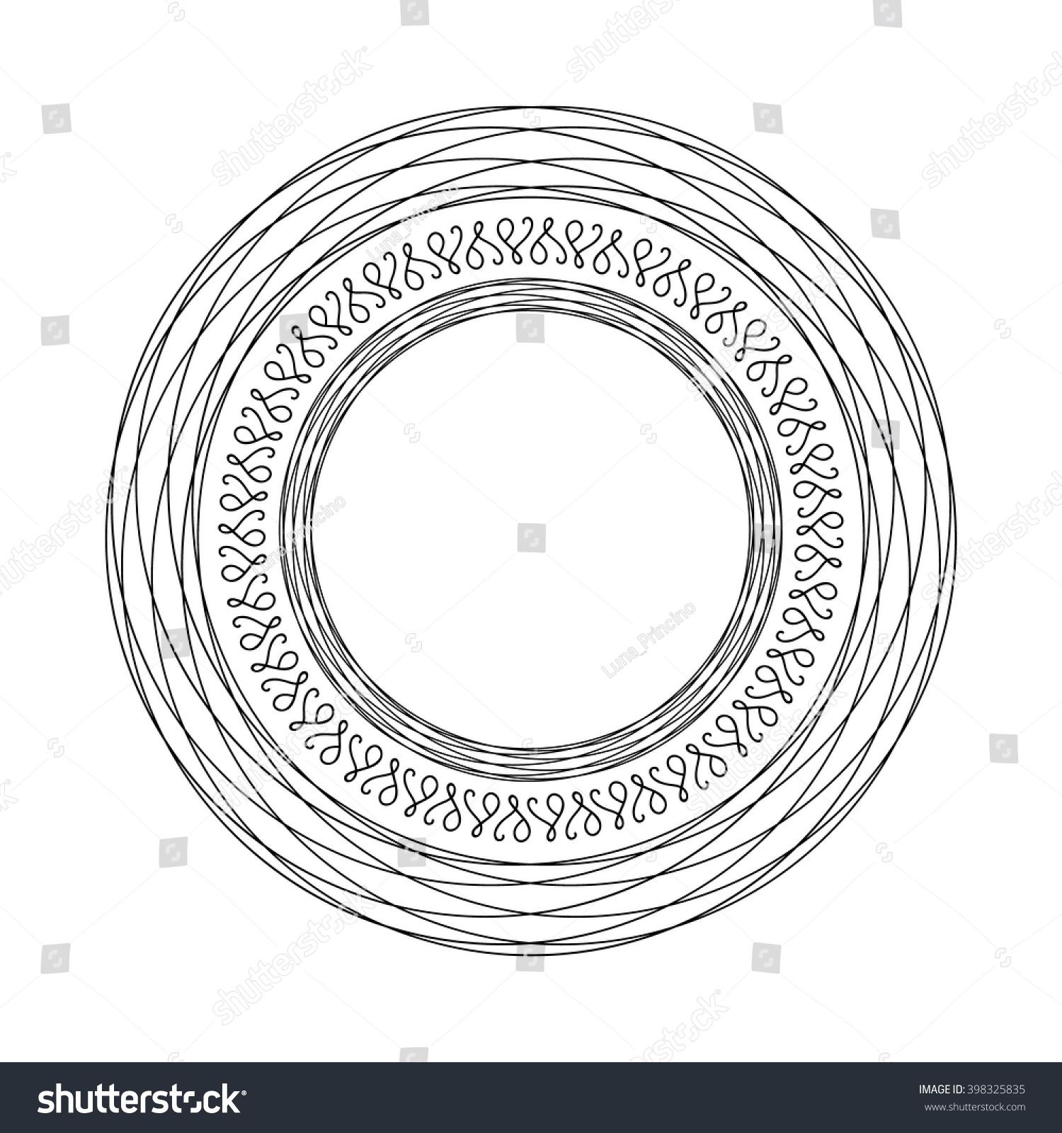 Vector Round Frame Template Black White Stockvector Rechtenvrij