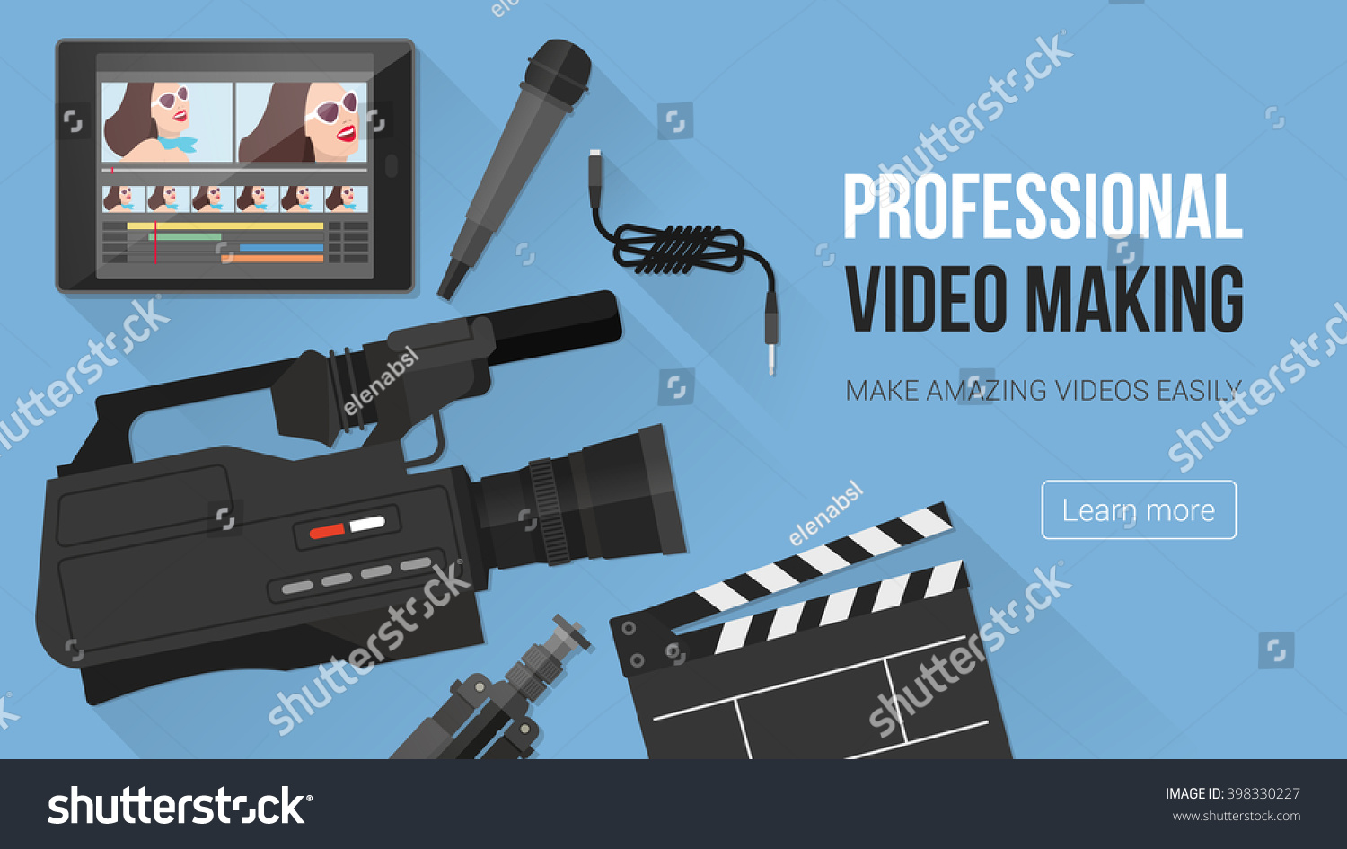 Video making shooting and editing with professional equipment and video camera on a desk