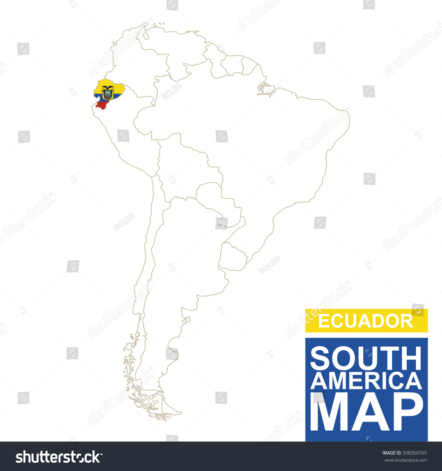 South America Contoured Map With Highlighted Ecuador Ecuador Map - Ecuador south america map