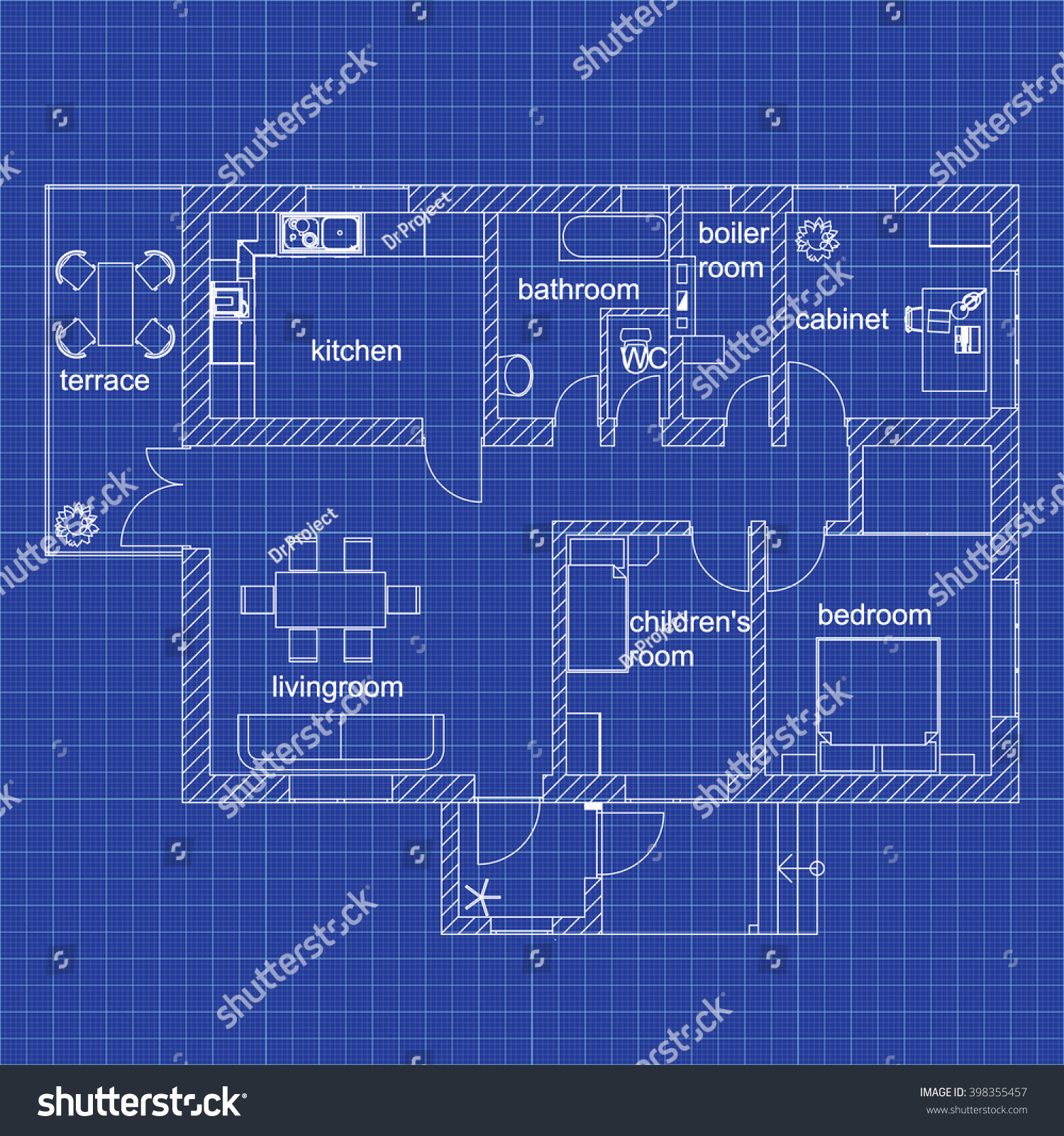 Blueprint floor plan modern apartment on vectores en stock 398355457 blueprint floor plan of a modern apartment on graph paper vector illustration architectural background malvernweather Choice Image