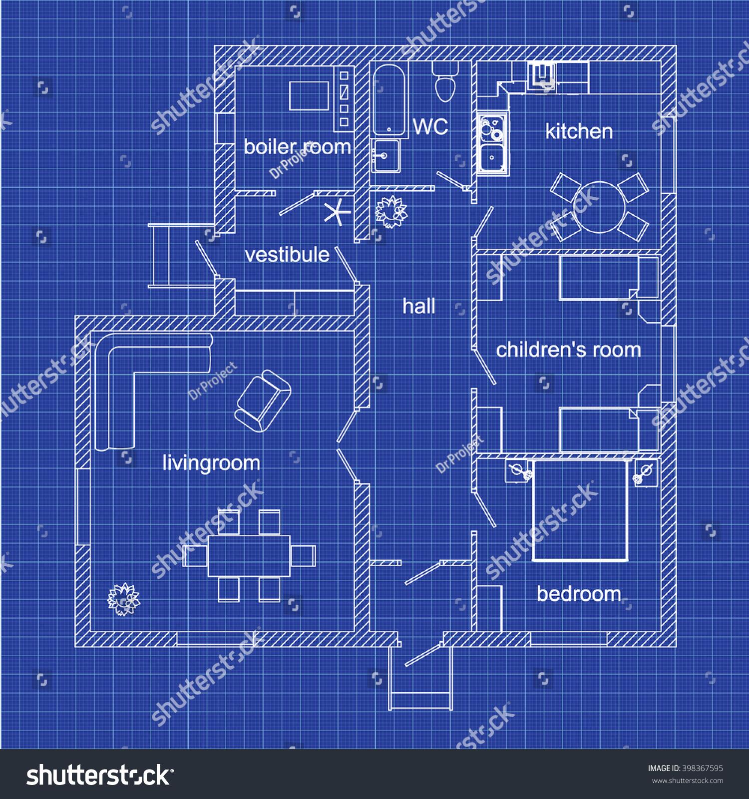 Blueprint floor plan modern apartment on stock vector 2018 blueprint floor plan of a modern apartment on graph paper vector illustration malvernweather Gallery