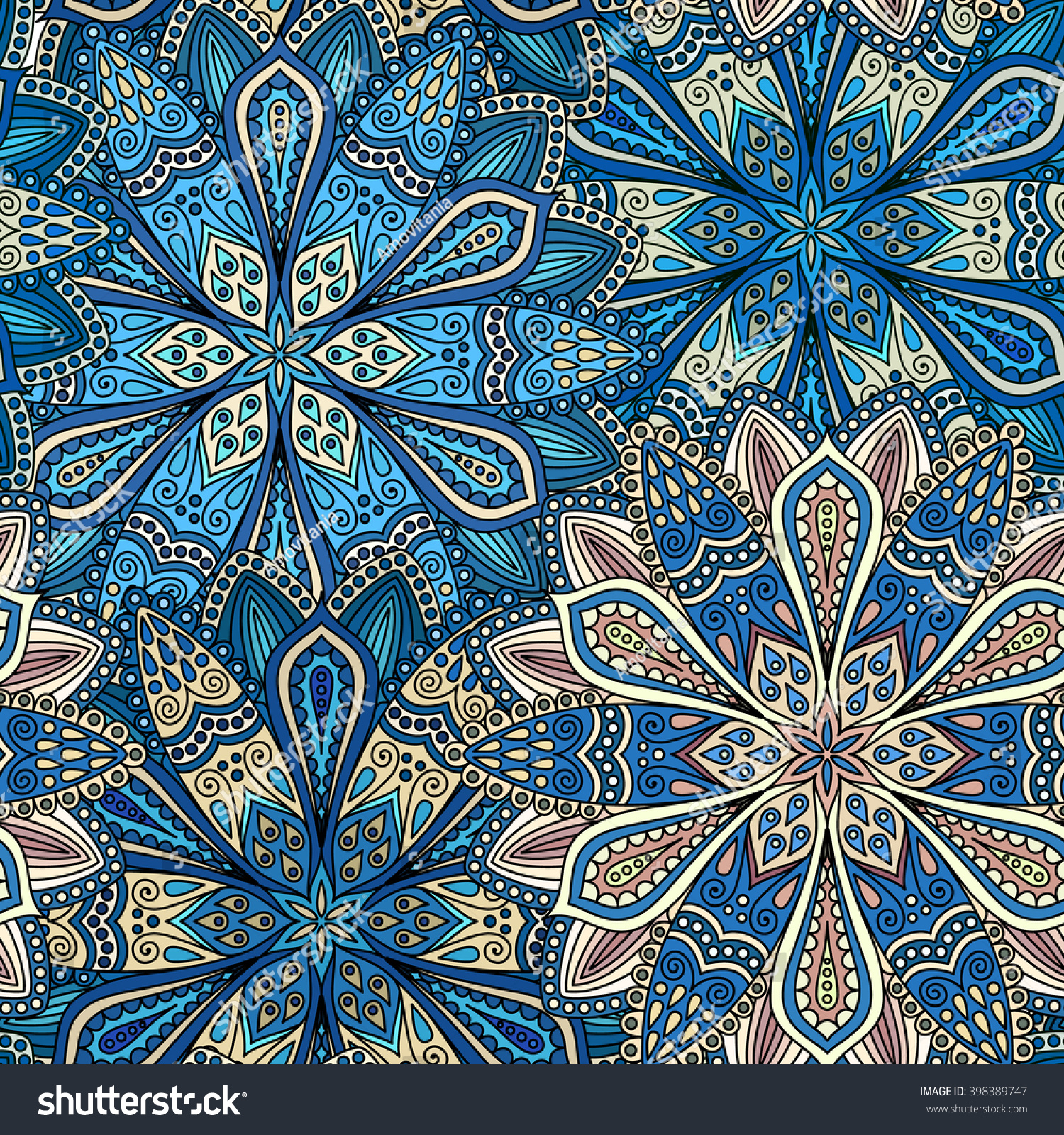 Vector Boho Chic Flower Seamless Pattern Stock 398389747
