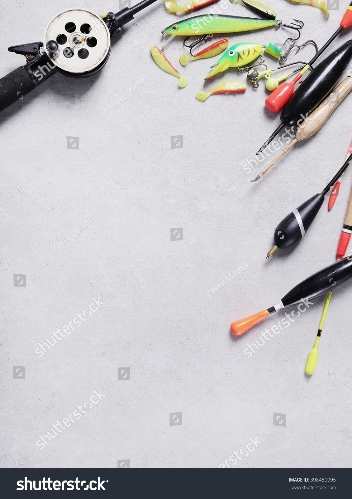 Fishing tools and accessories on the table   EZ Canvas