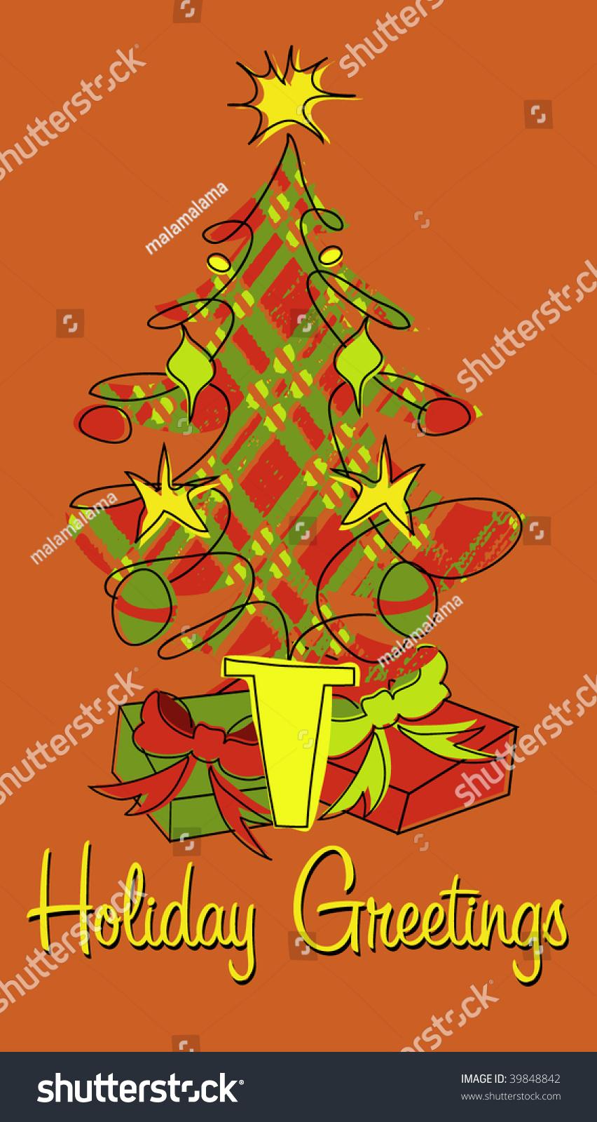 Plaid Christmas Tree Holiday Greeting Stock Vector 39848842