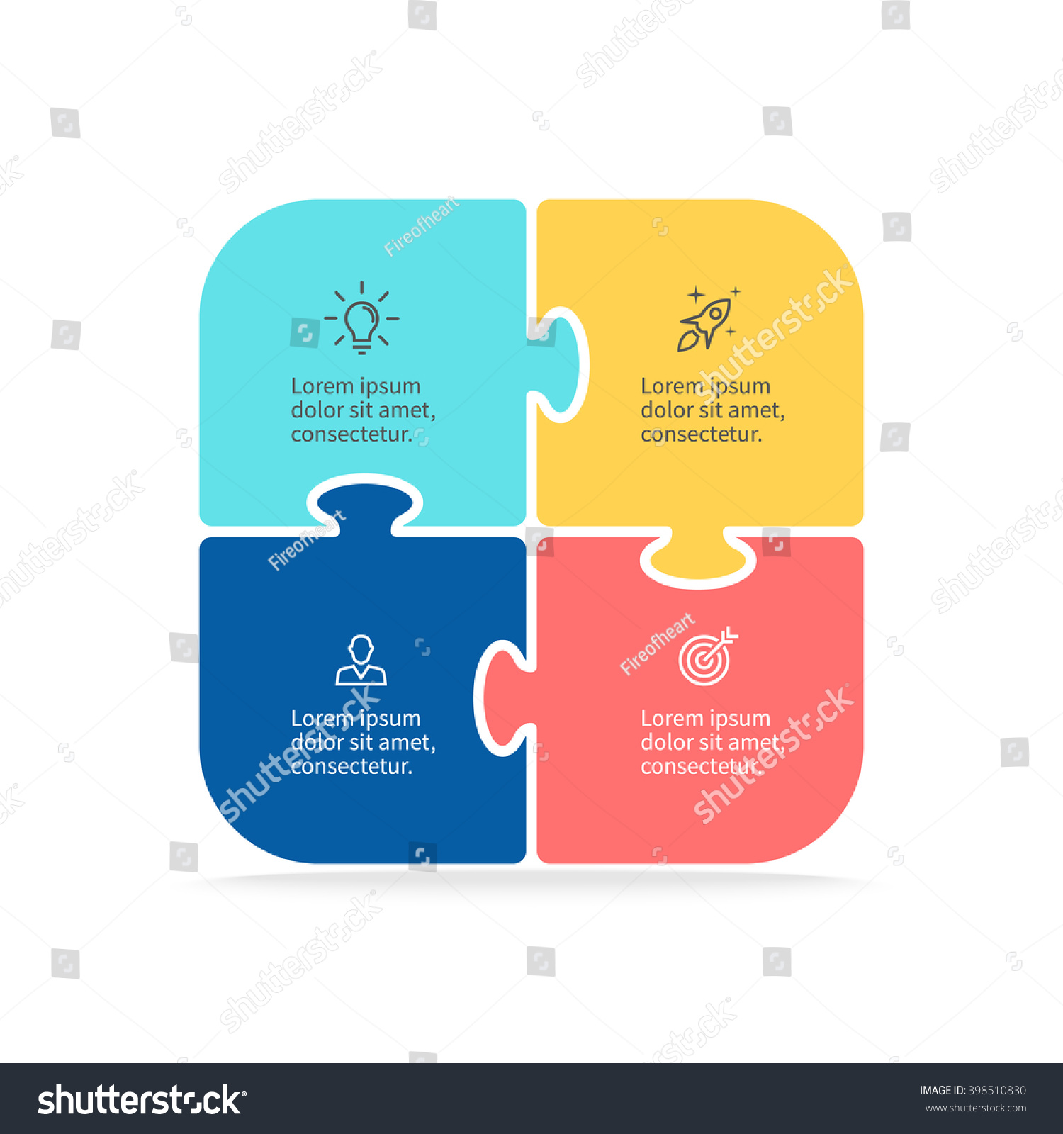 infographic puzzle  square chart, diagram with 5 steps, options, parts,  processes  vector design element