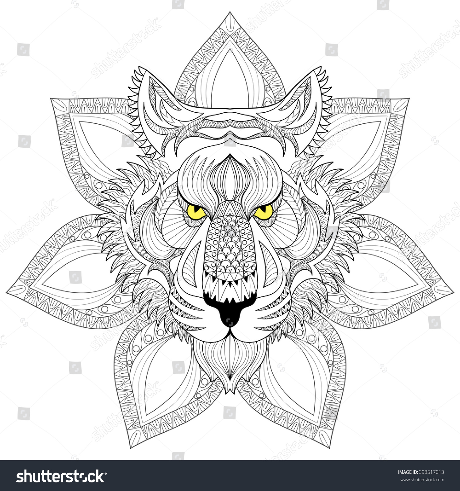Vector Tigers Face Isolated On Henna Mandala Zentangle Patterned Background For Adult Coloring Pages