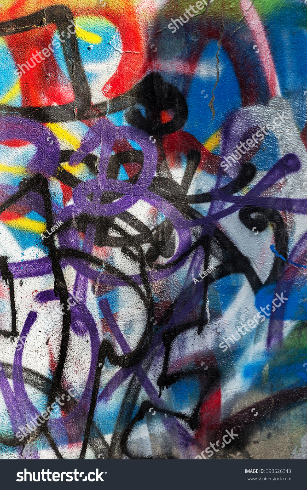 Beautiful street art of graffiti abstract creative drawing fashion on walls of the city urban contemporary culture name of paint on walls