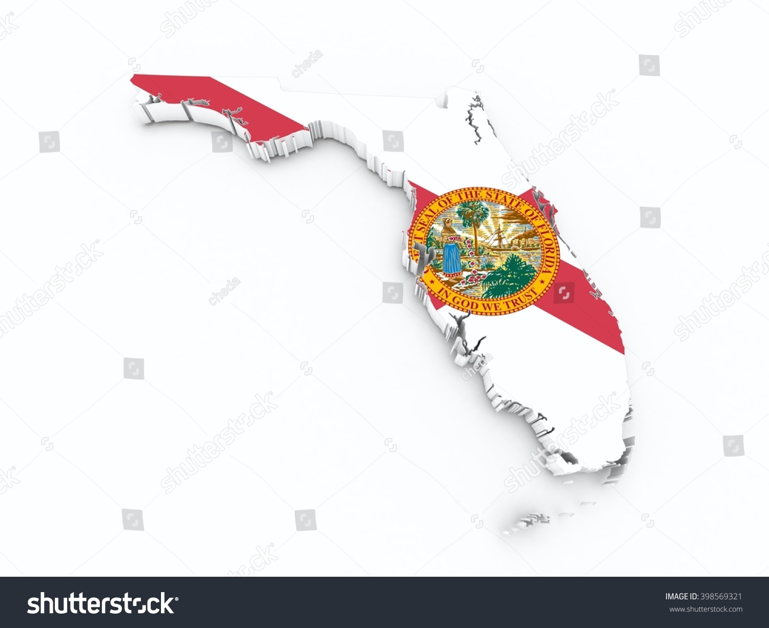 Florida State Flag On 3d Map Stock Photo 398569321