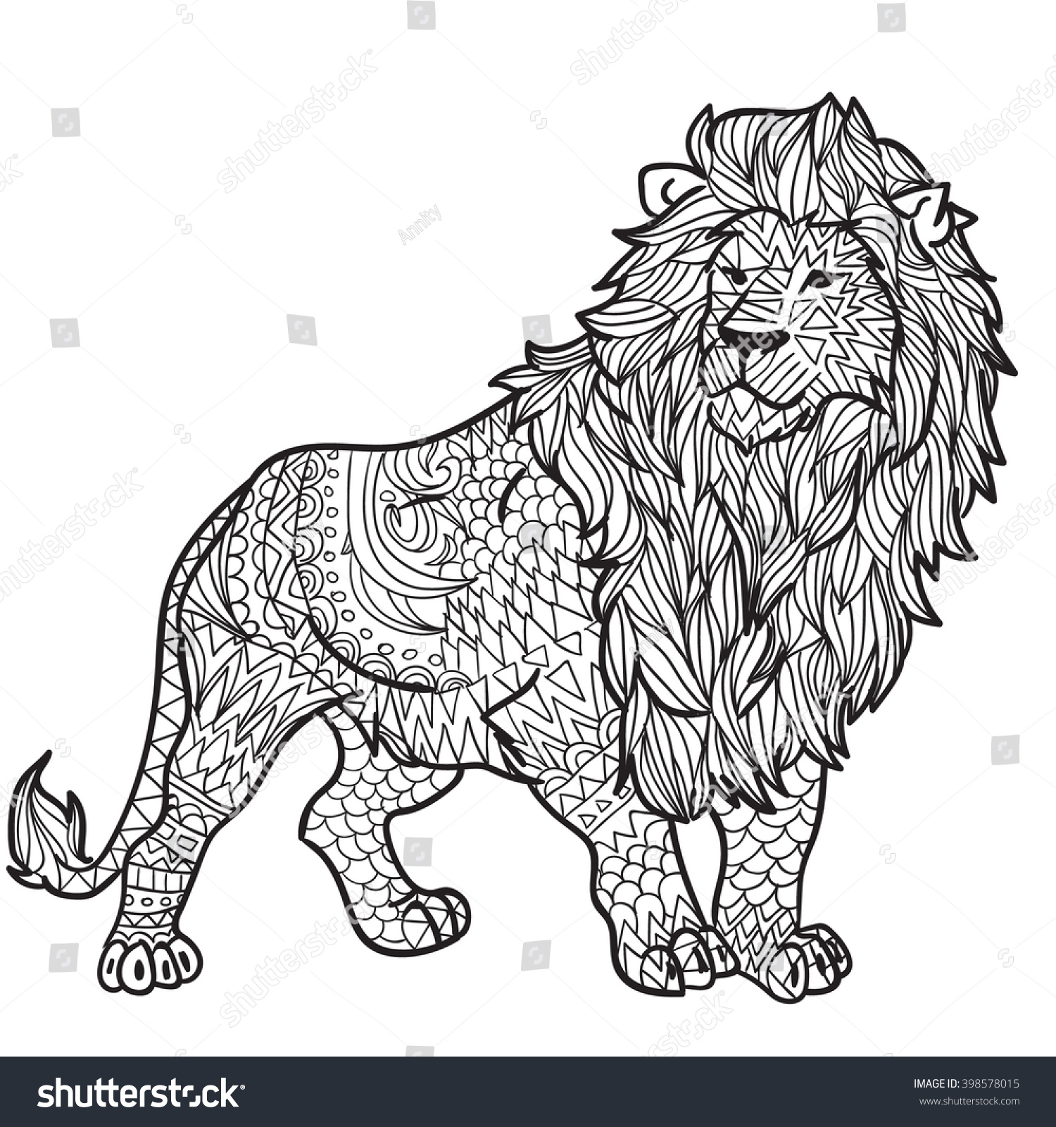 Hand Drawn Coloring Pages With Lion Zentangle