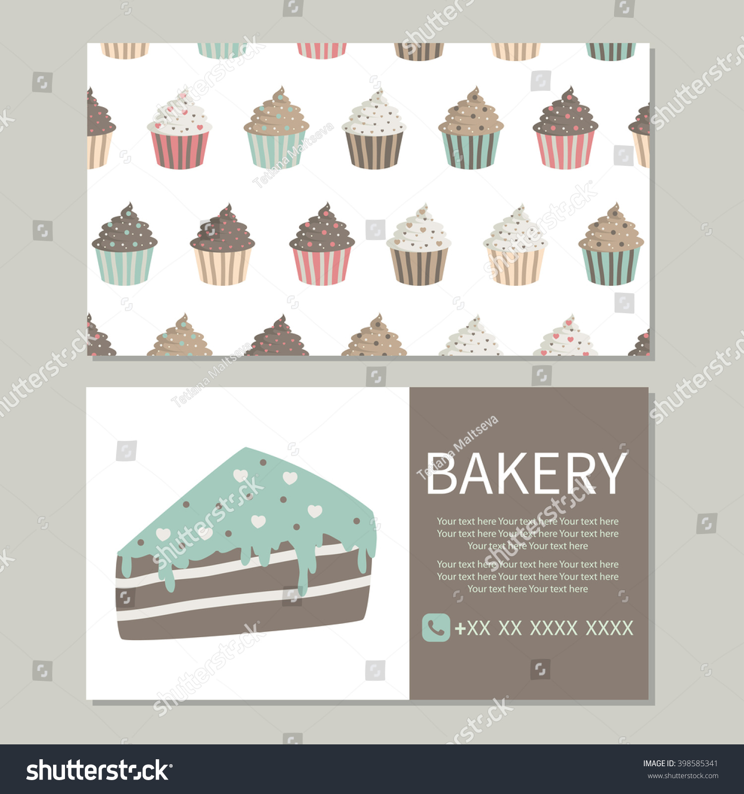 Bakery Business Card Pattern Cute Cupcakes Stock Vector 398585341 ...