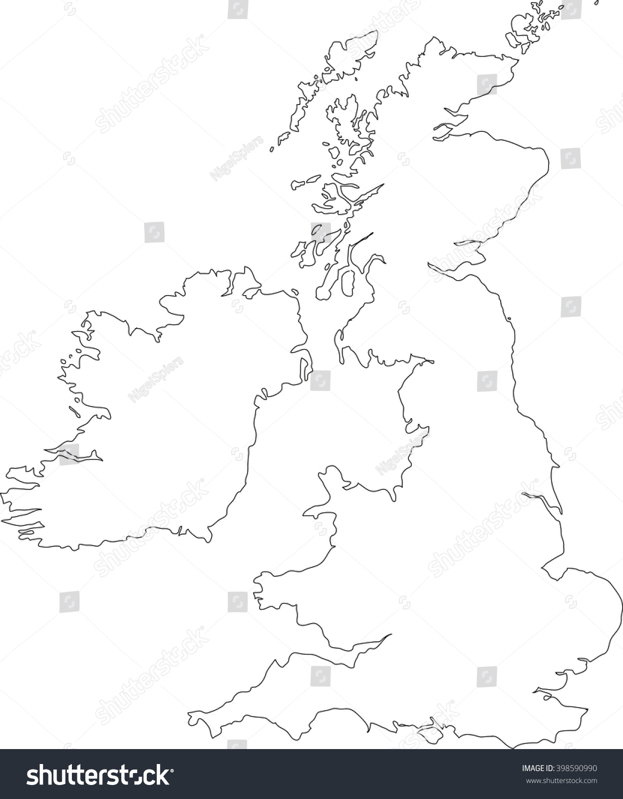 Black Outline Vector Map British Isles Stock Vector ...