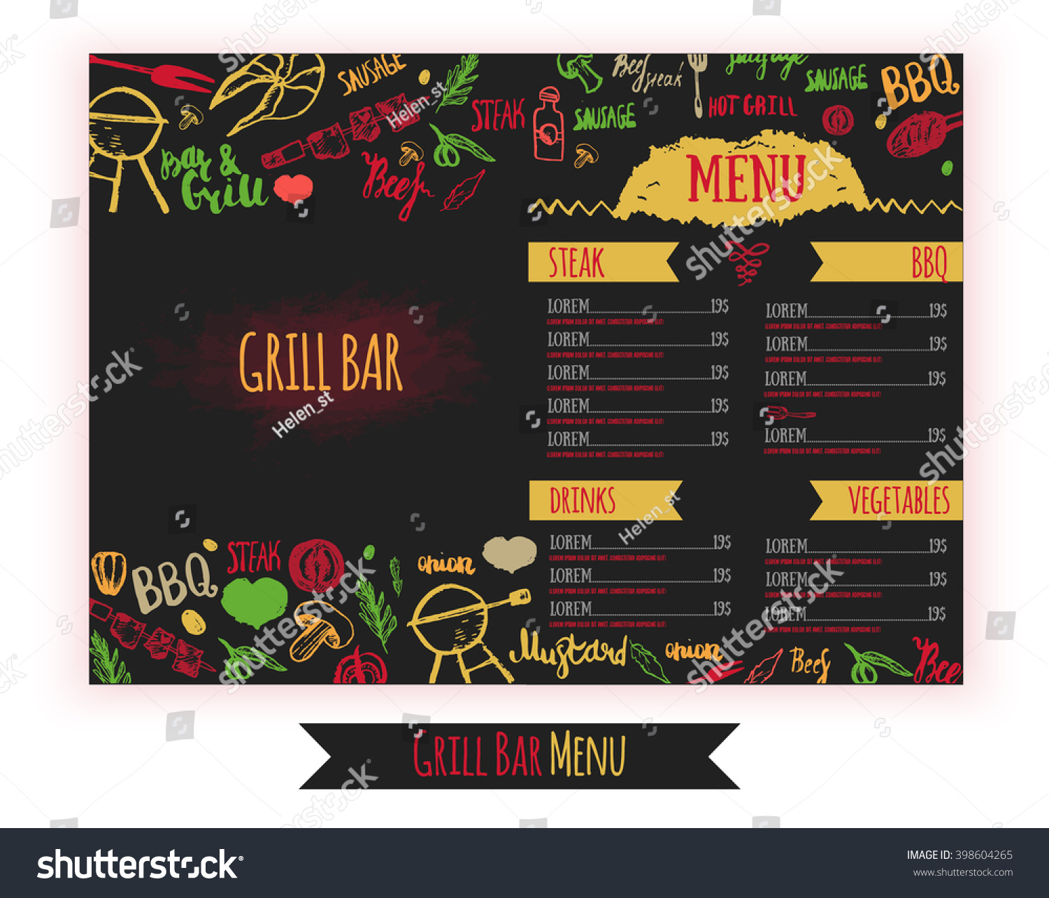 Restaurant bbq menu brochure vector cafe template with hand drawn id 398604265 maxwellsz