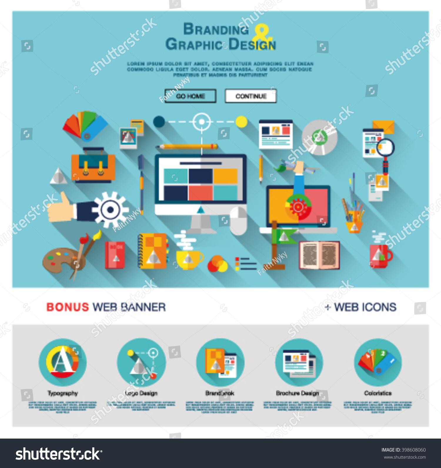 flat web banner template design outline のベクター画像素材